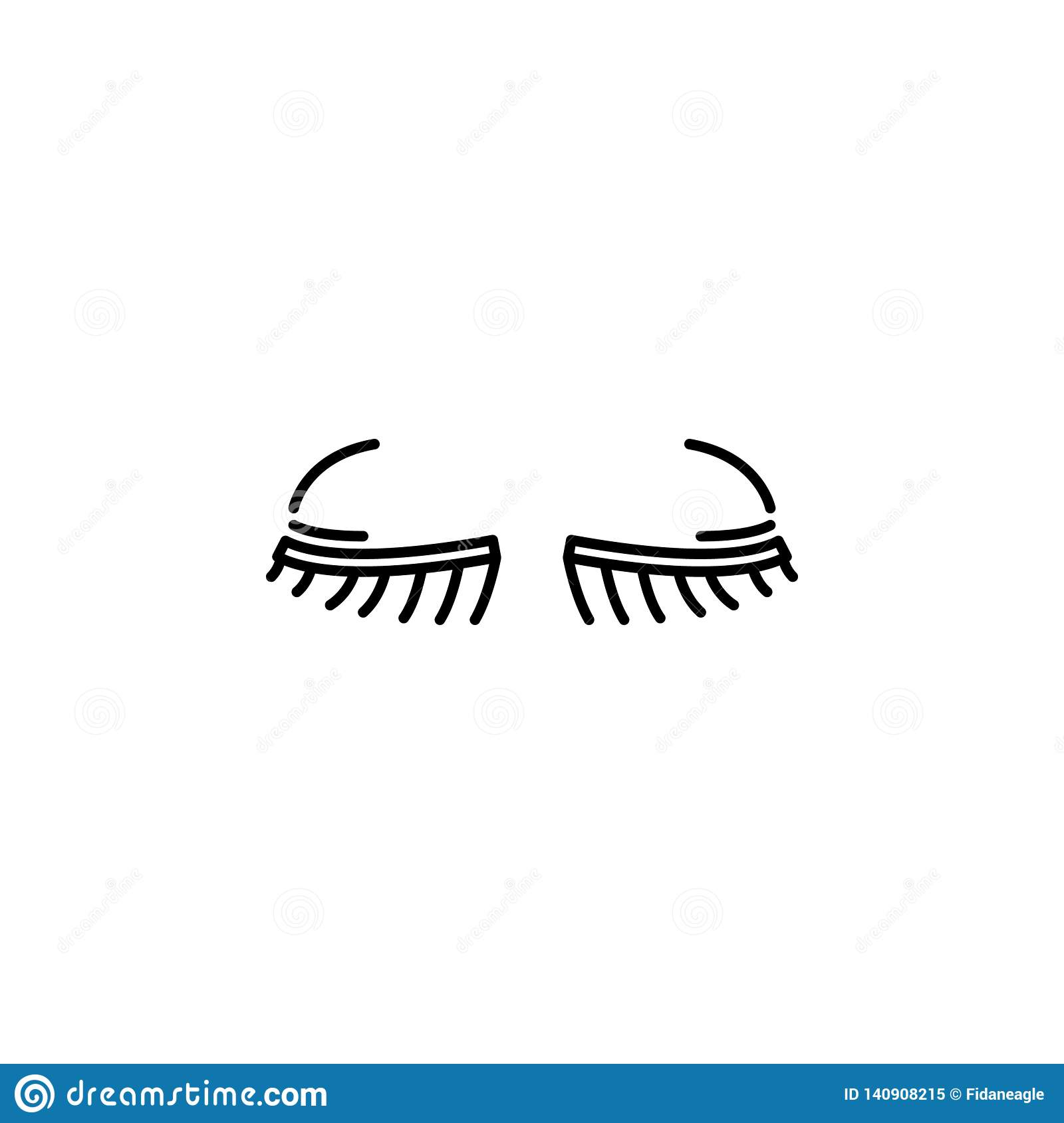 Human organ eyelashes outline icon. Signs and symbols can be used for web, logo, mobile app, UI, UX