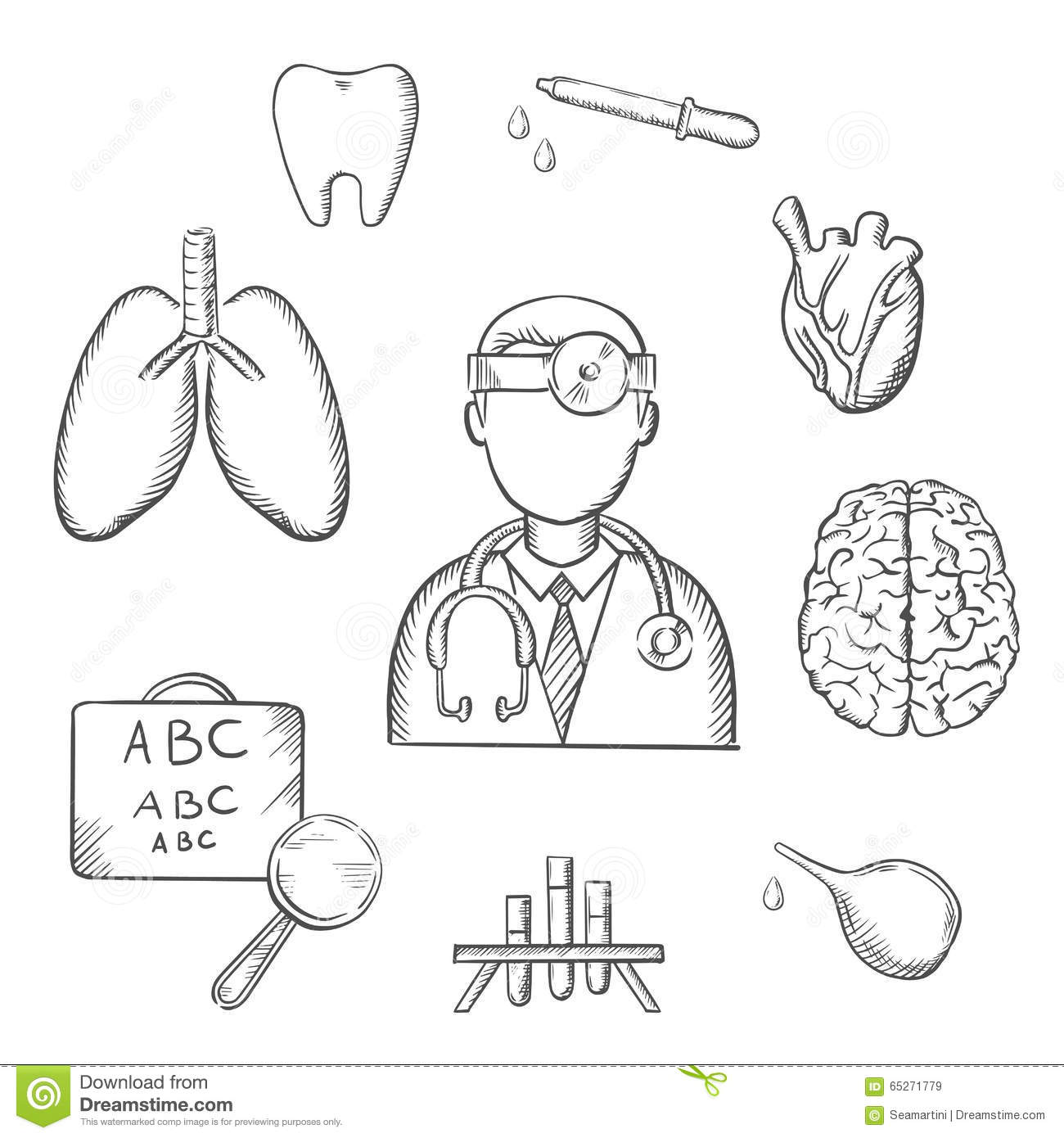 Human Organs And Medical Sketch Icons Stock Vector - Illustration of ...