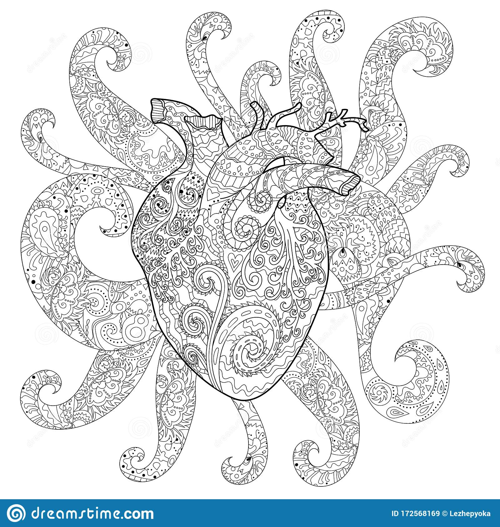 Human Patterned Heart For Coloring Book Stock Illustration Illustration Of Background Fairytale 172568169