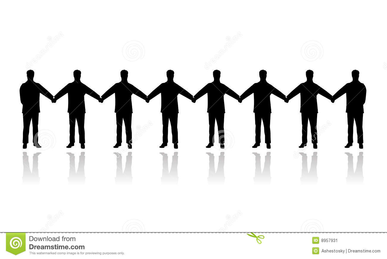 Vectored illustration as silhouette of chain of people holding each ...