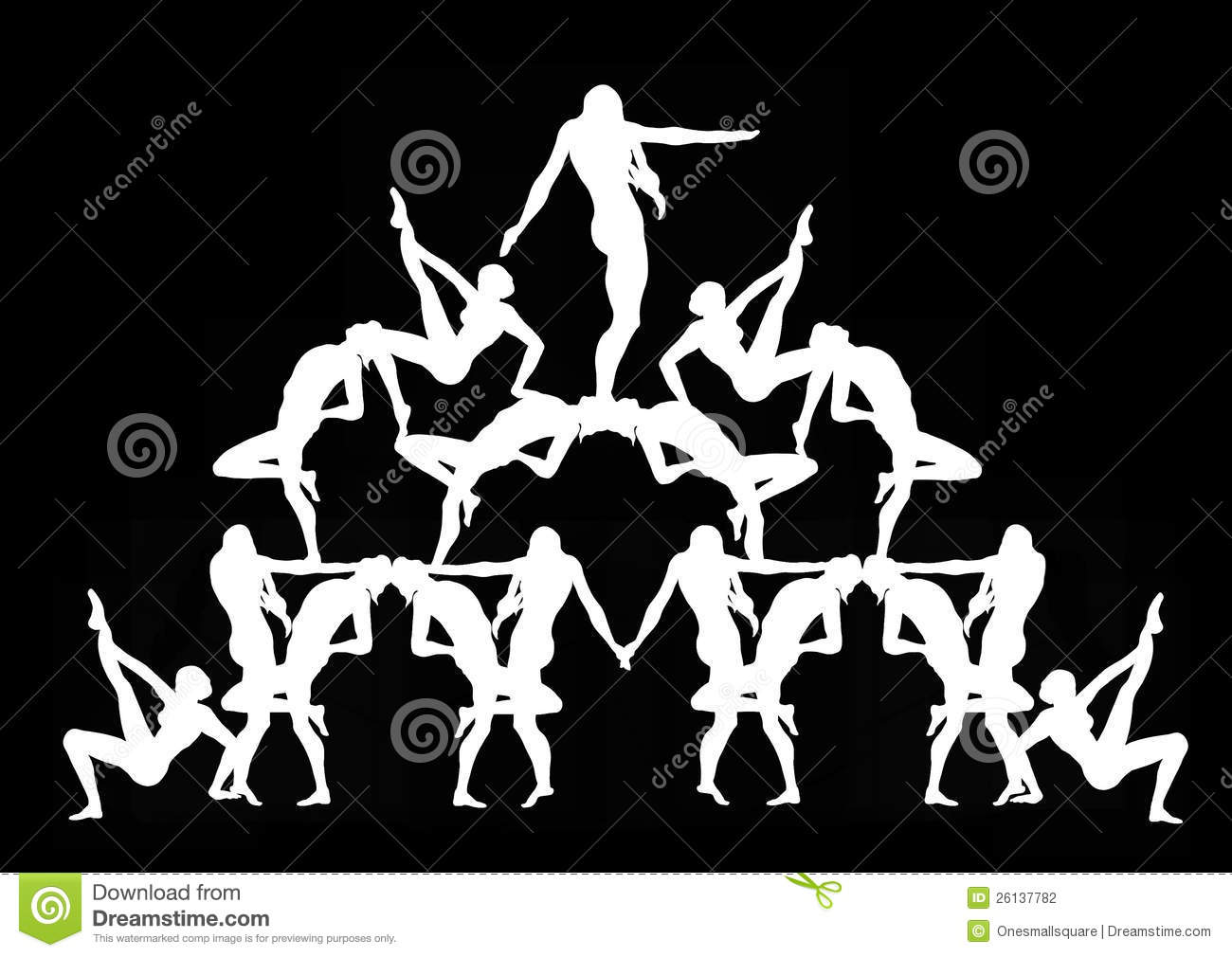 Human Pyramid in Black stock illustration  Illustration of