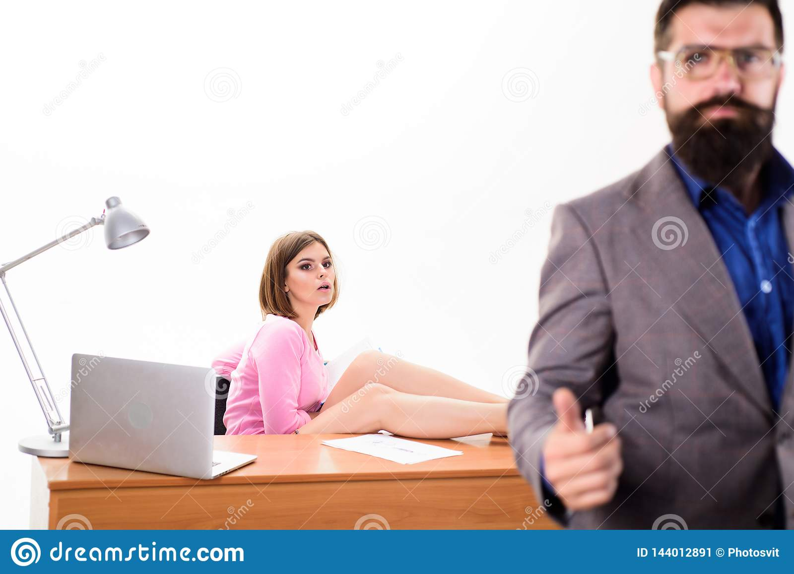 Human resources for business. Human resources manager after job interview. Sexy interviewer with candidate in human