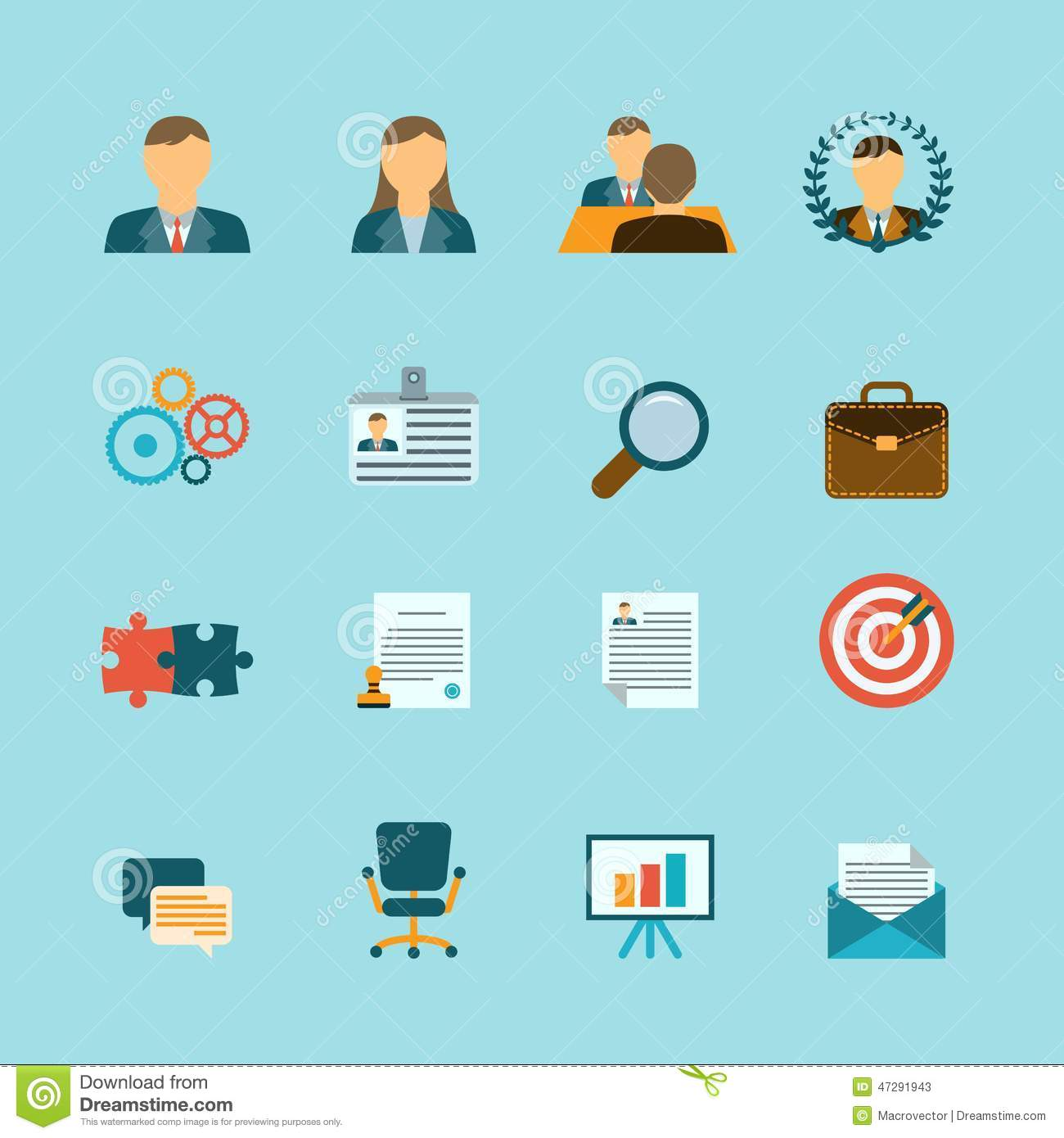 human resources flat icons set stock vector   image 47291943