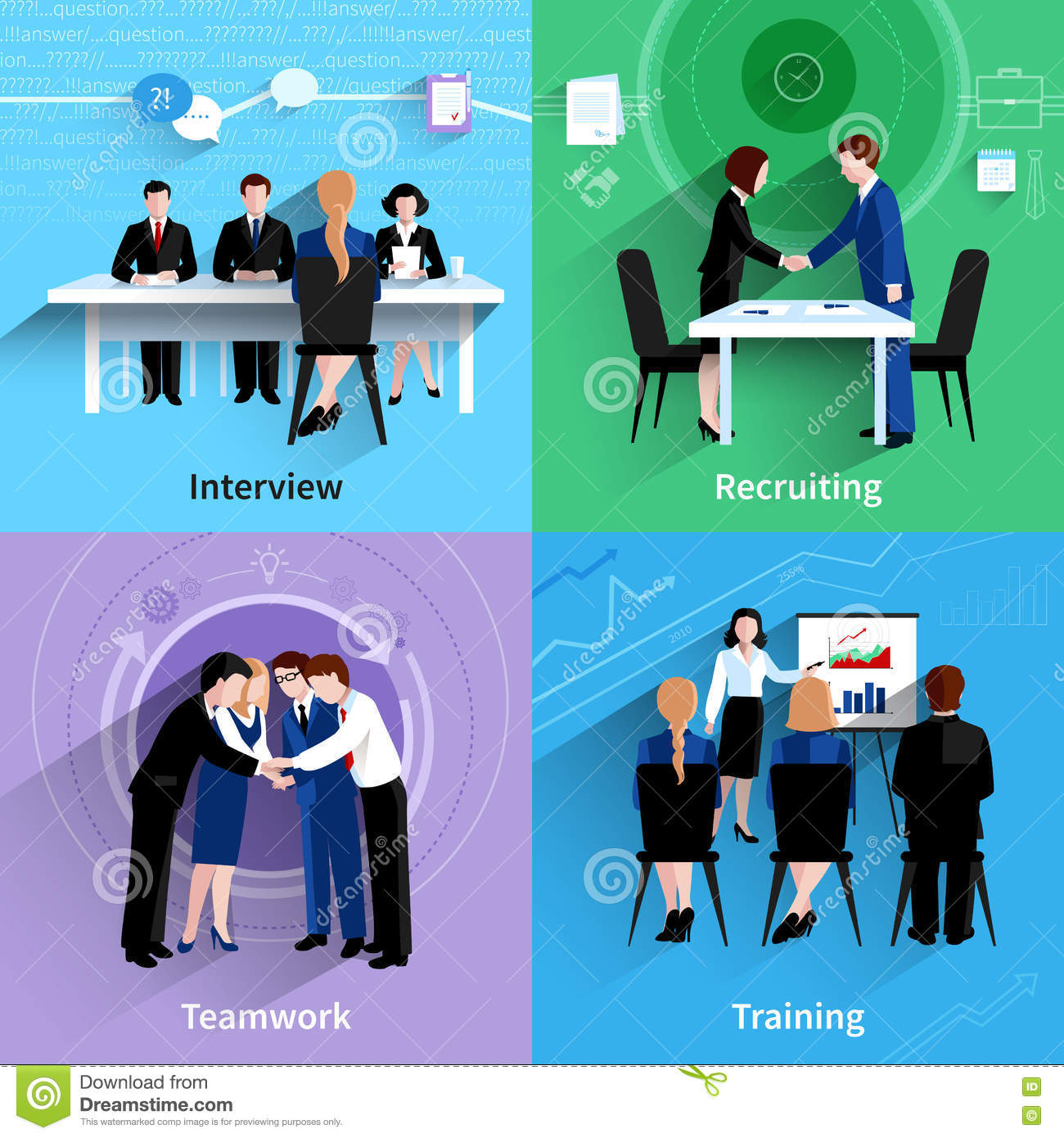 human resources 4 flat icons square stock vector image 75519897 human resources 4 flat icons square