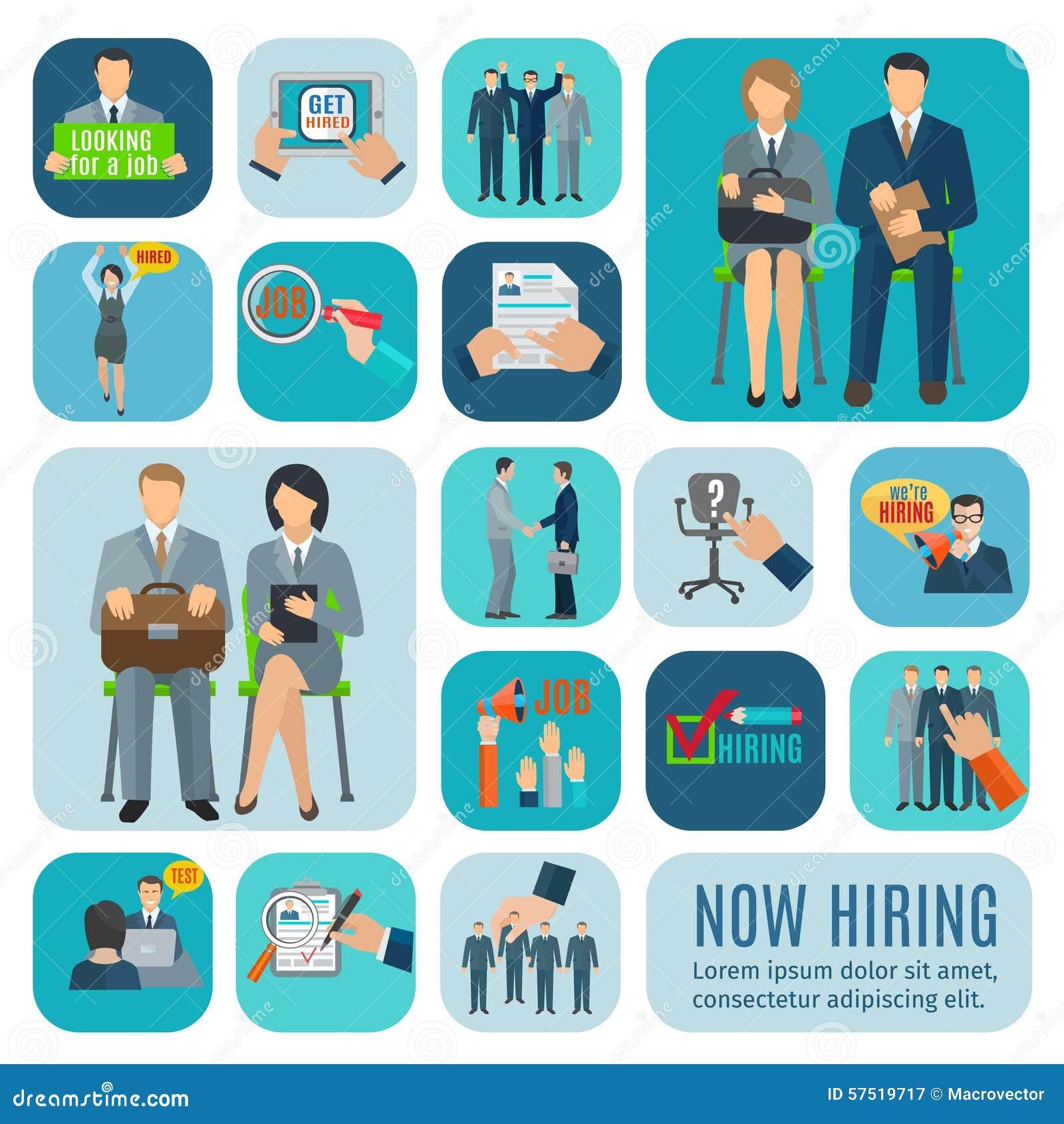 human resources hiring flat icons set stock vector image  human resources hiring flat icons set