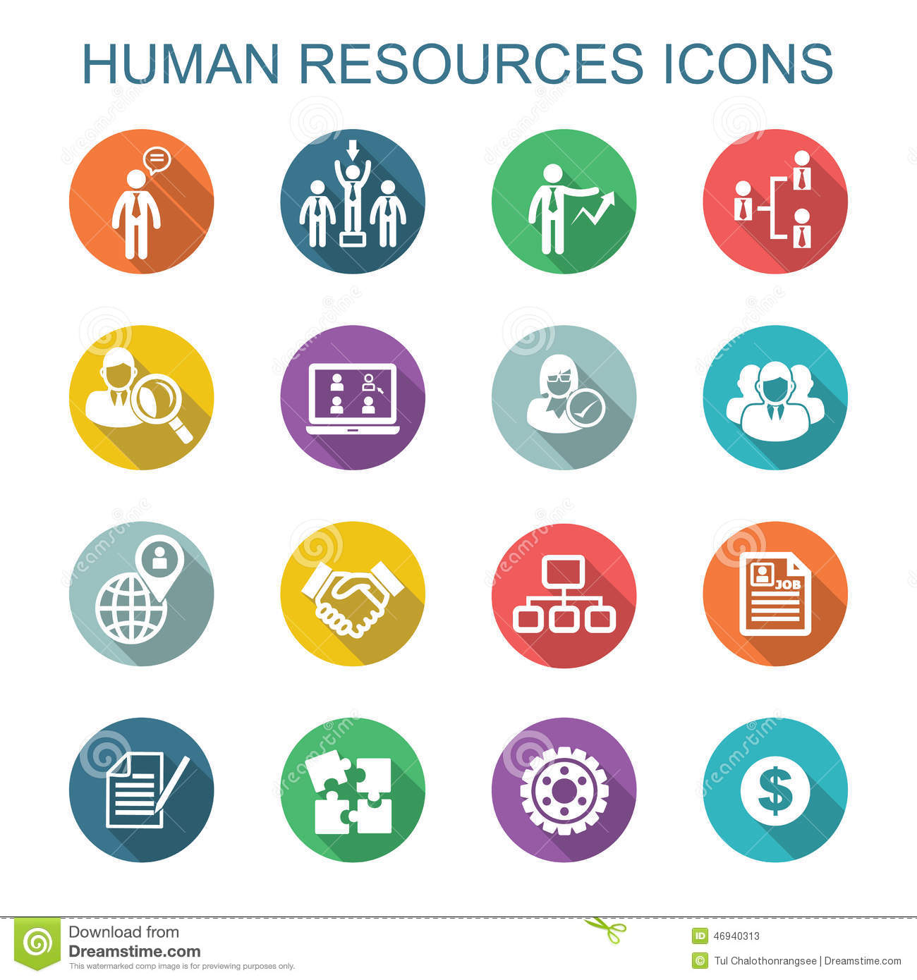 Human Resources Long Shadow Icons Stock Vector Image