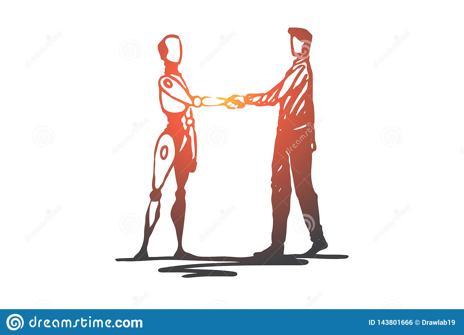 Human, robot, future, machine, technology concept. Hand drawn isolated vector.