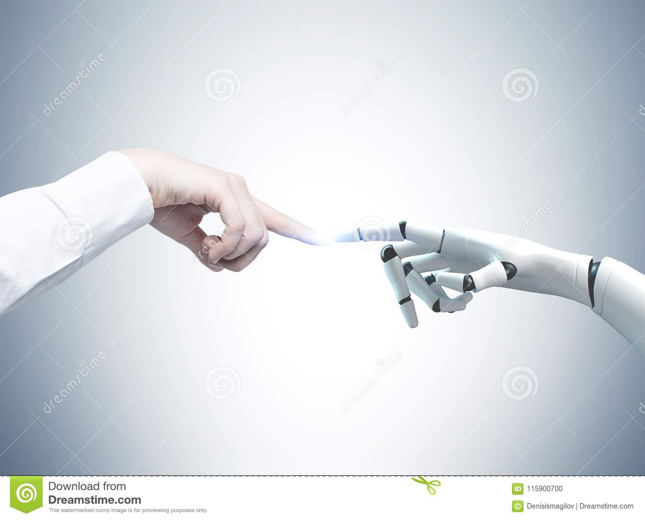 Human and robot hands reaching out, gray