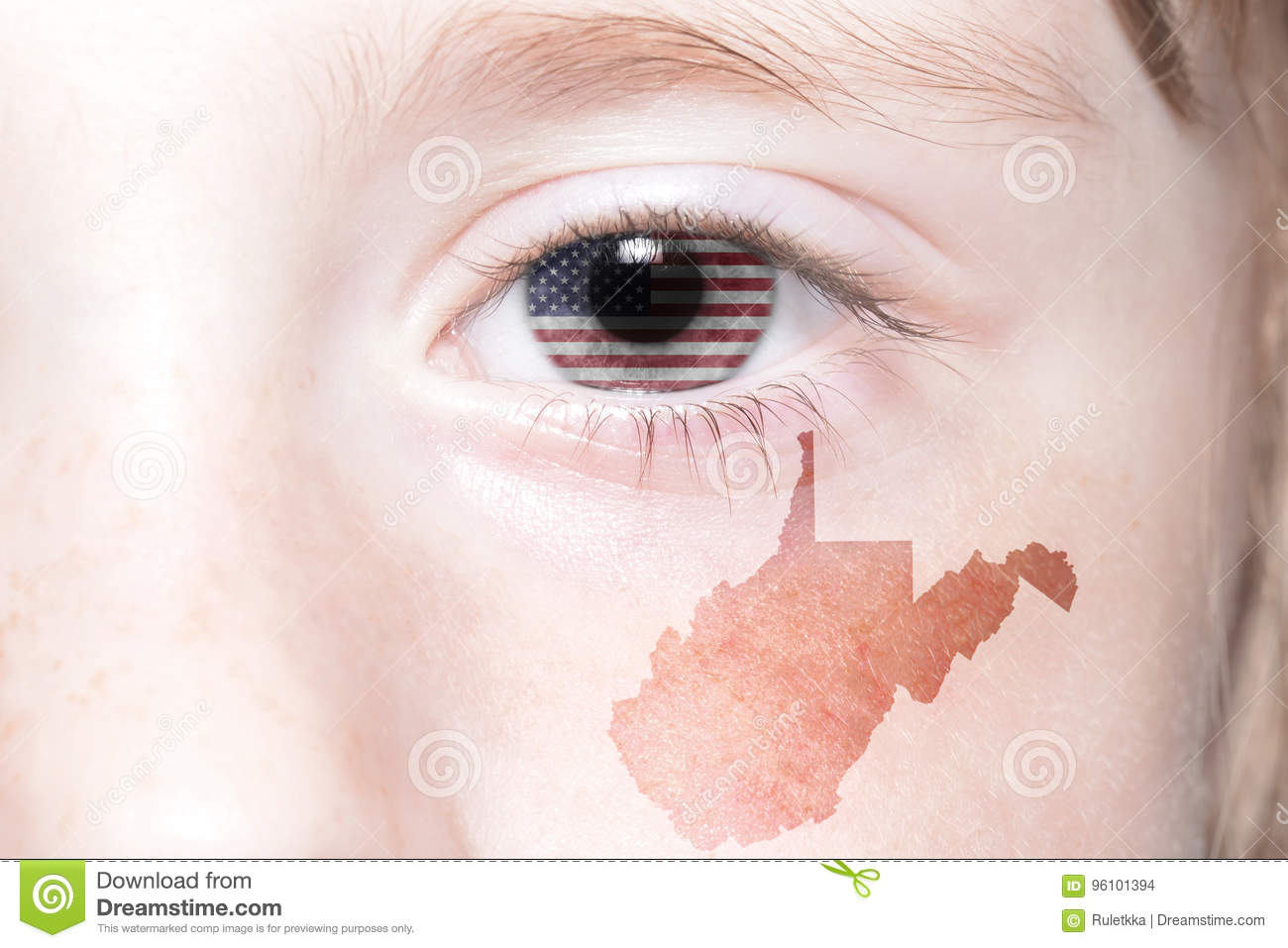 Human`s face with national flag of united states of america and west virginia state map