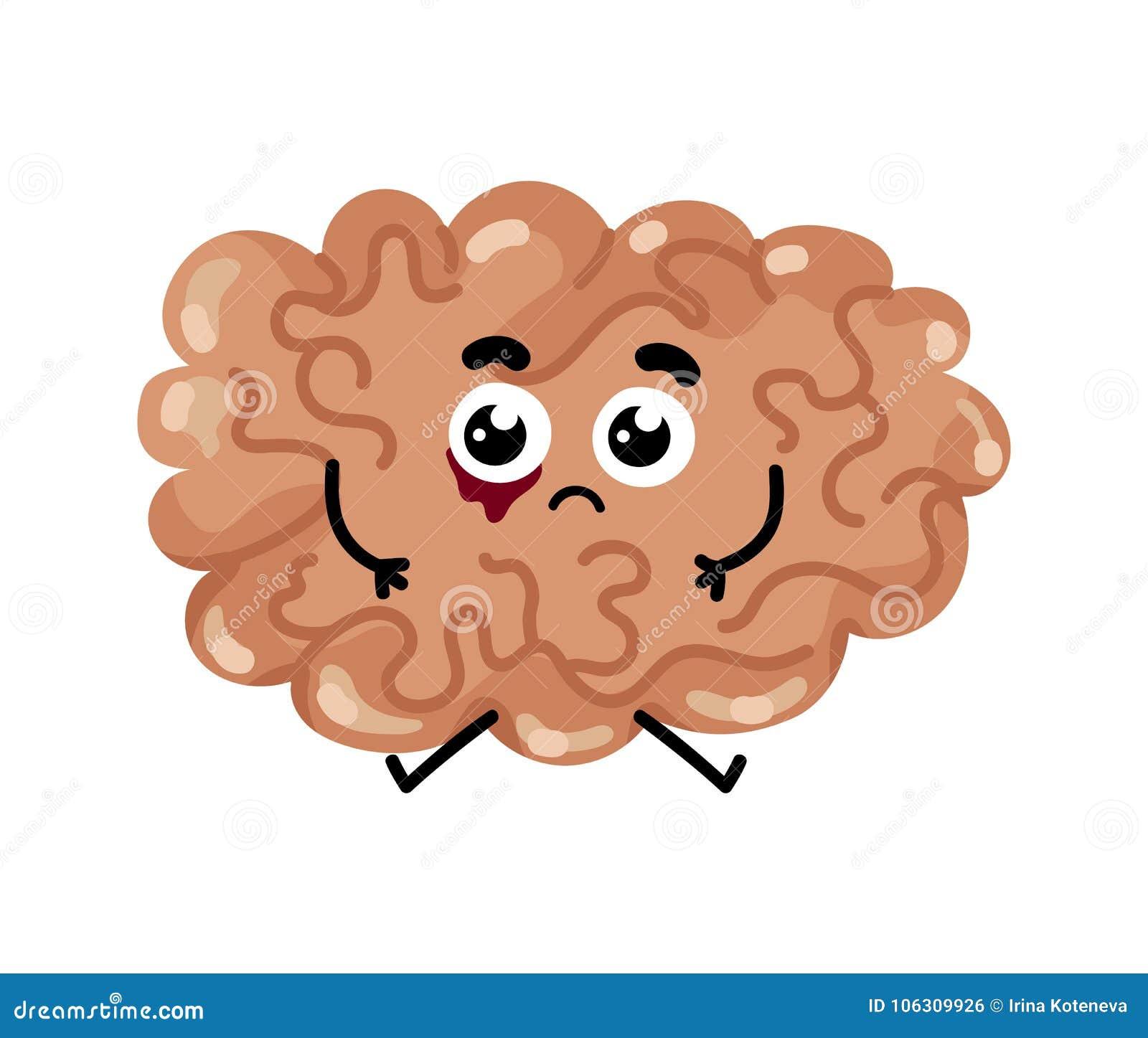 Human Sick Brain Cartoon Character Stock Vector Illustration Of