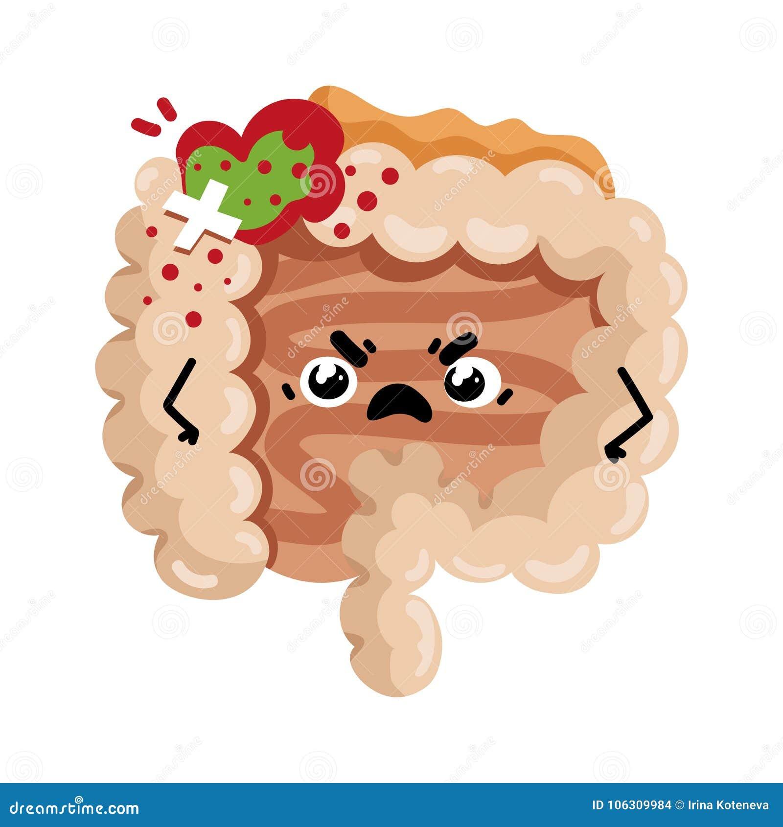 Human Sick Intestine Cartoon Character Stock Vector Illustration