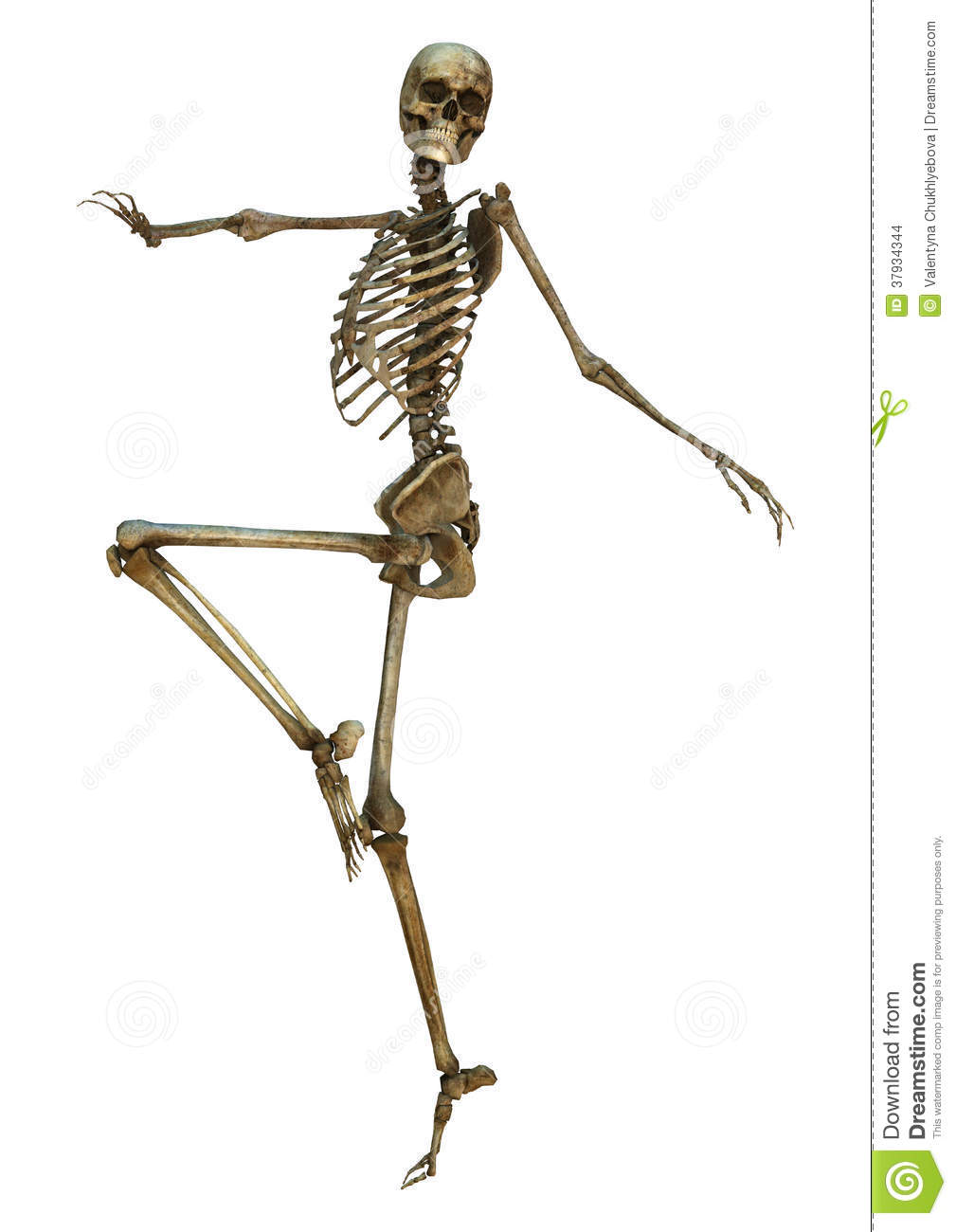 3D Digital Render Of An Old Dancing Human Skeleton Isolated On White