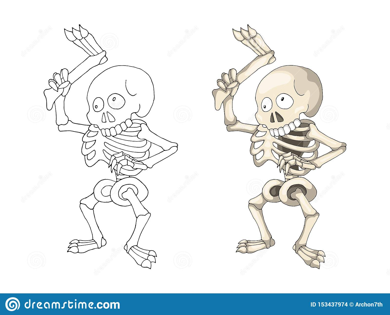 Human Skeleton Standing With Leg, Cartoon Character Coloring ...
