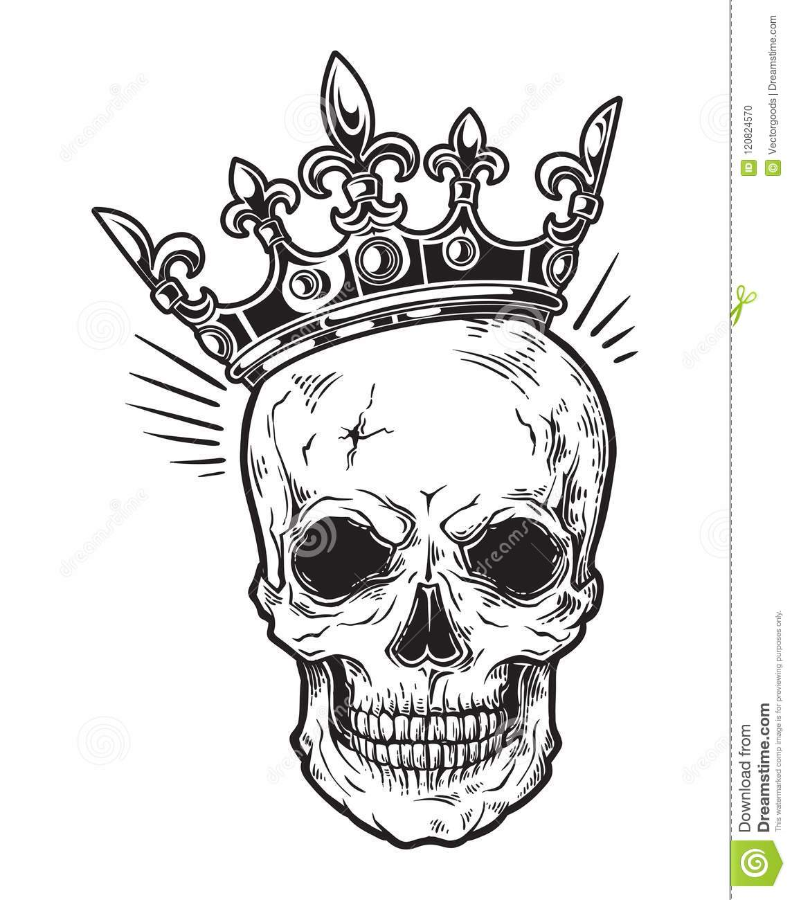 Human Skull With Crown For Tattoo Design Stock Vector