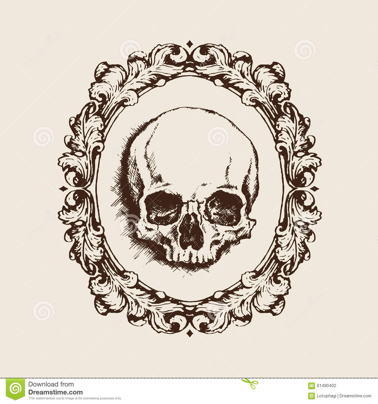 Human Skull In Filigree Frame. Vector Illustration Stock Vector ...