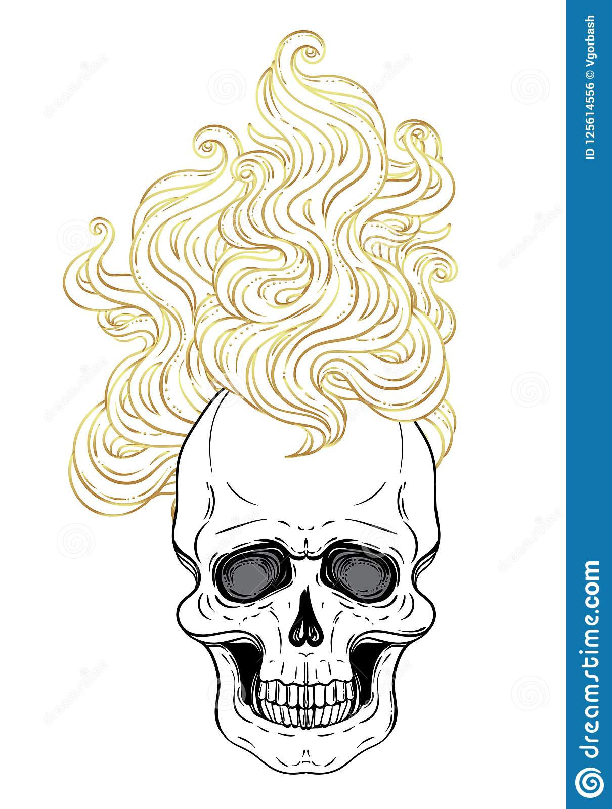 Human Skull With Fire Or Hair Demon Fairy Tale Character Myst
