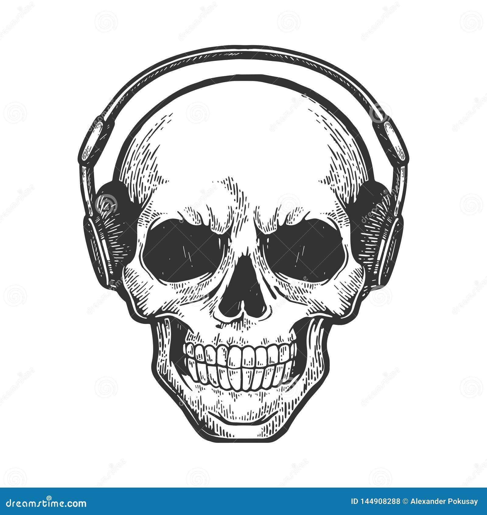 1b03204f6b8 Human Skull In Headphones Sketch Engraving Vector Stock Vector ...