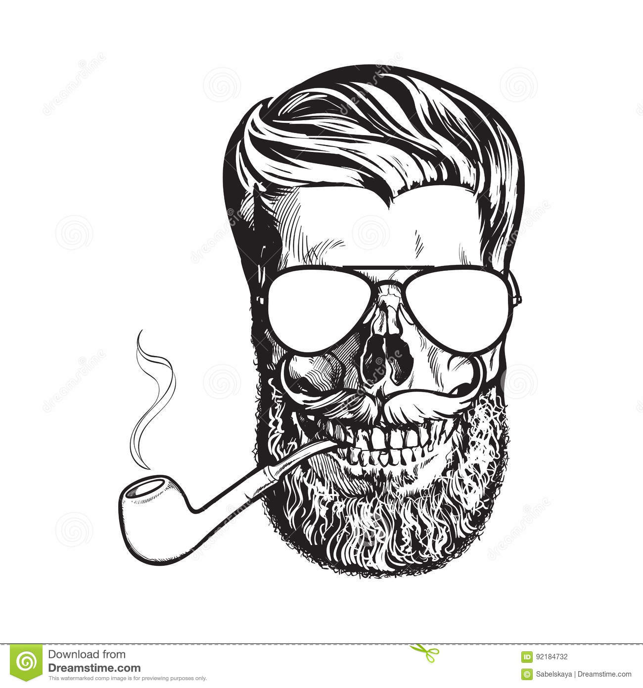 Human Skull With Hipster Beard, Wearing Aviator Sunglasses, Smoking ...