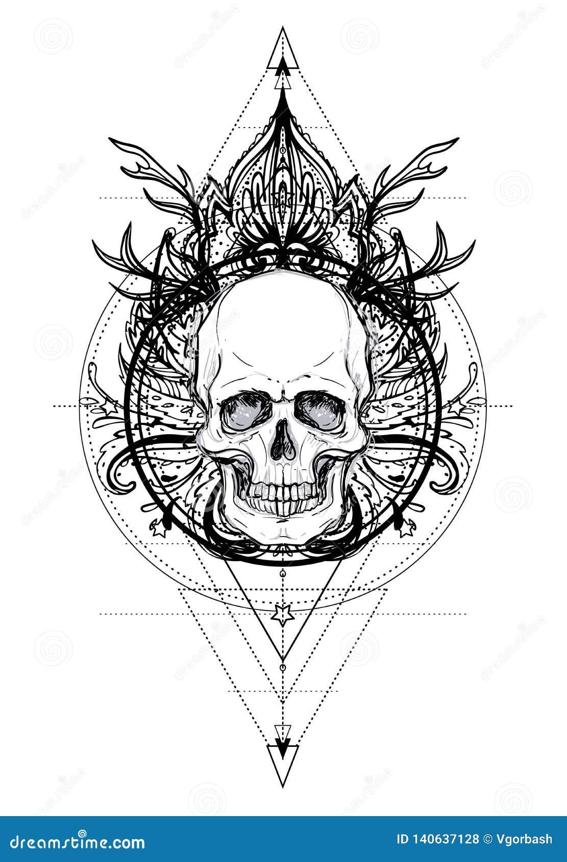 721b4b98d Ayurveda symbol of harmony and balance. Tattoo flesh design, yoga logo.  Boho print, poster, t-shirt textile. Isolated illustration