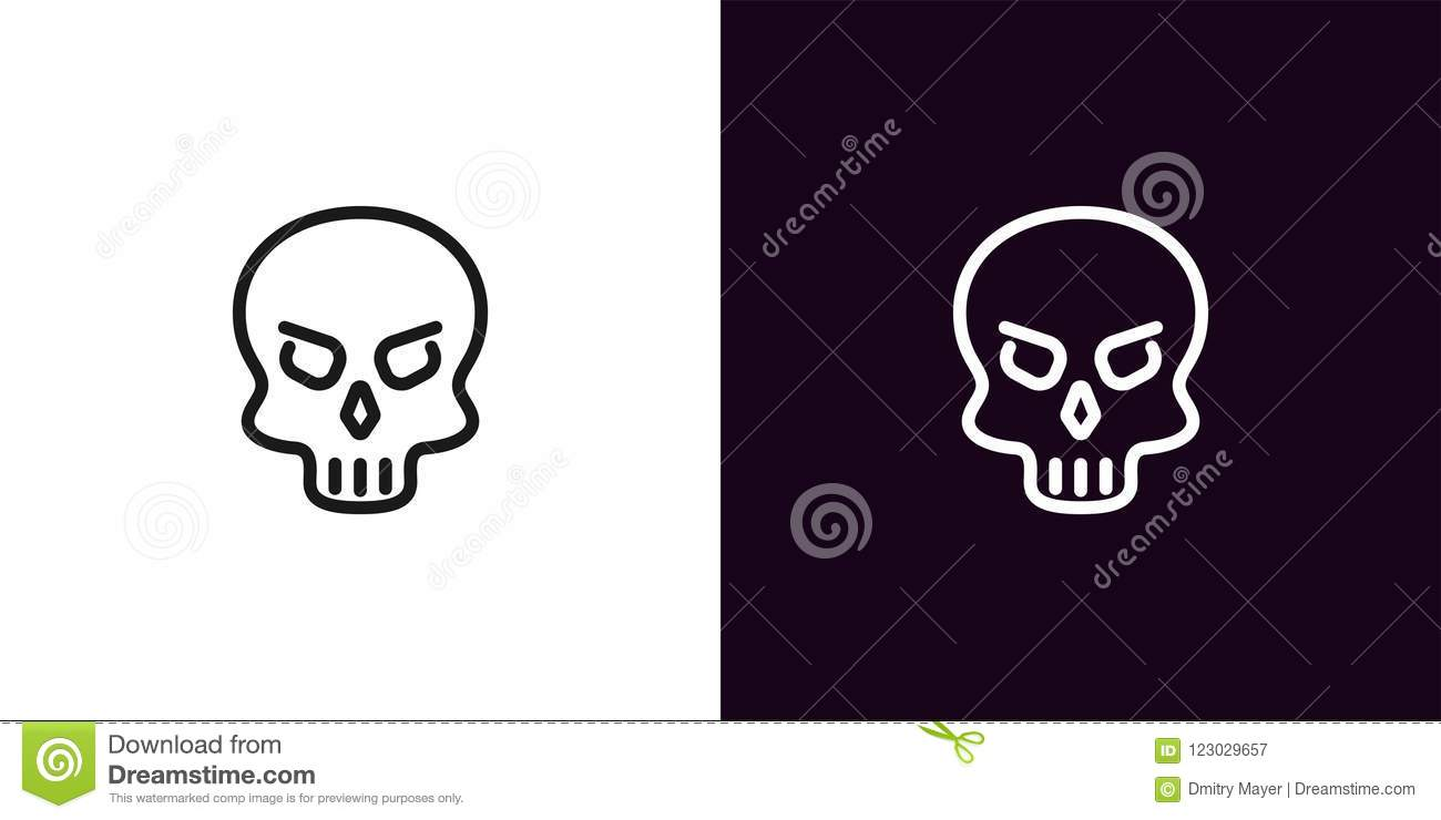 21d3009a7e Vector illustration icon of cartoon Skull in black and white color. graphic  element for decoration of Halloween holiday. More similar stock  illustrations