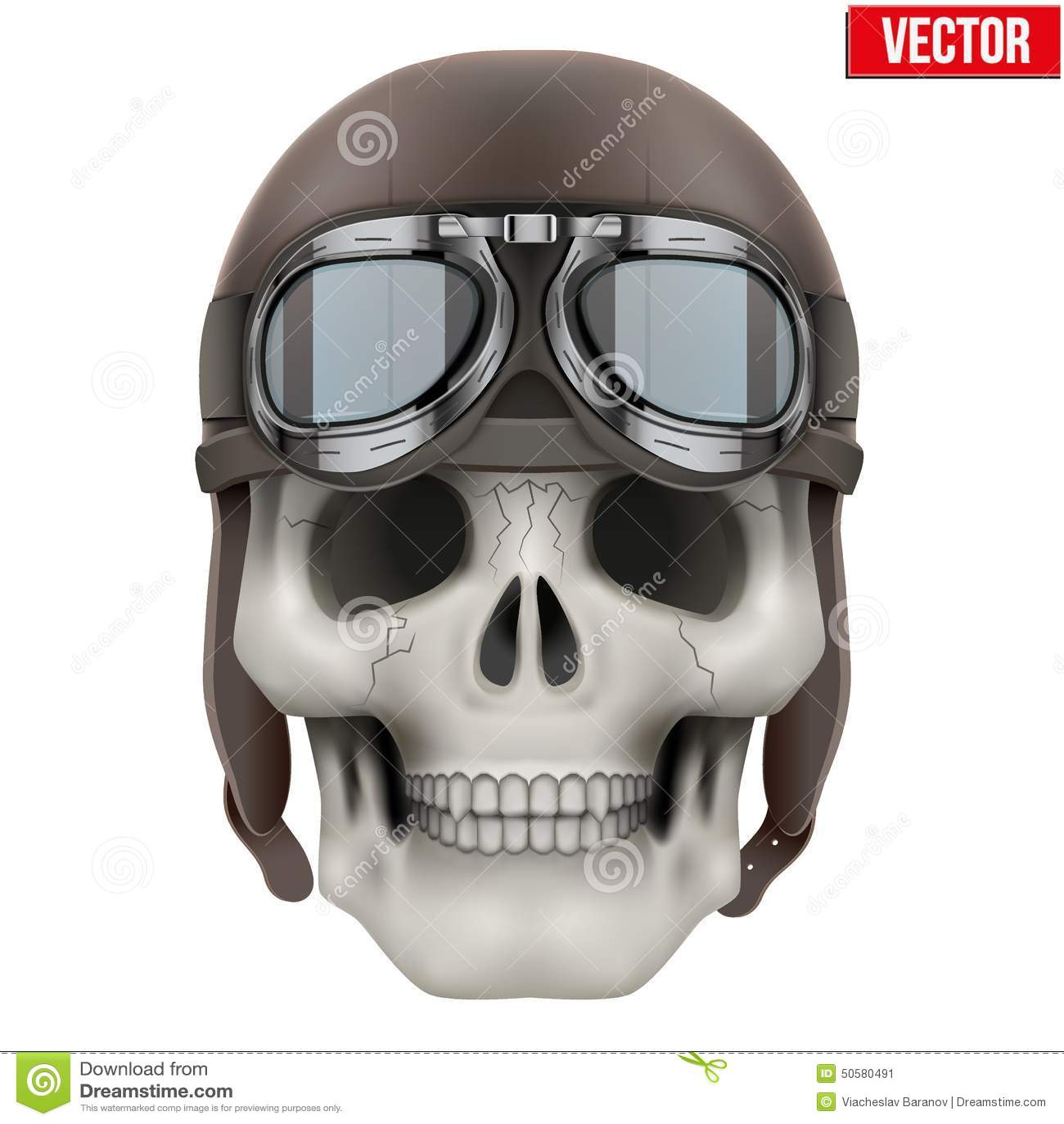 Human Skull With Retro Aviator Or Biker Helmet Stock
