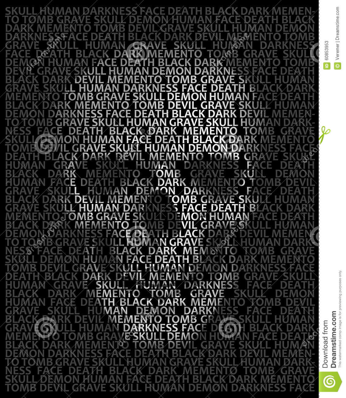 Human skull in typography skull made up of words death face stock