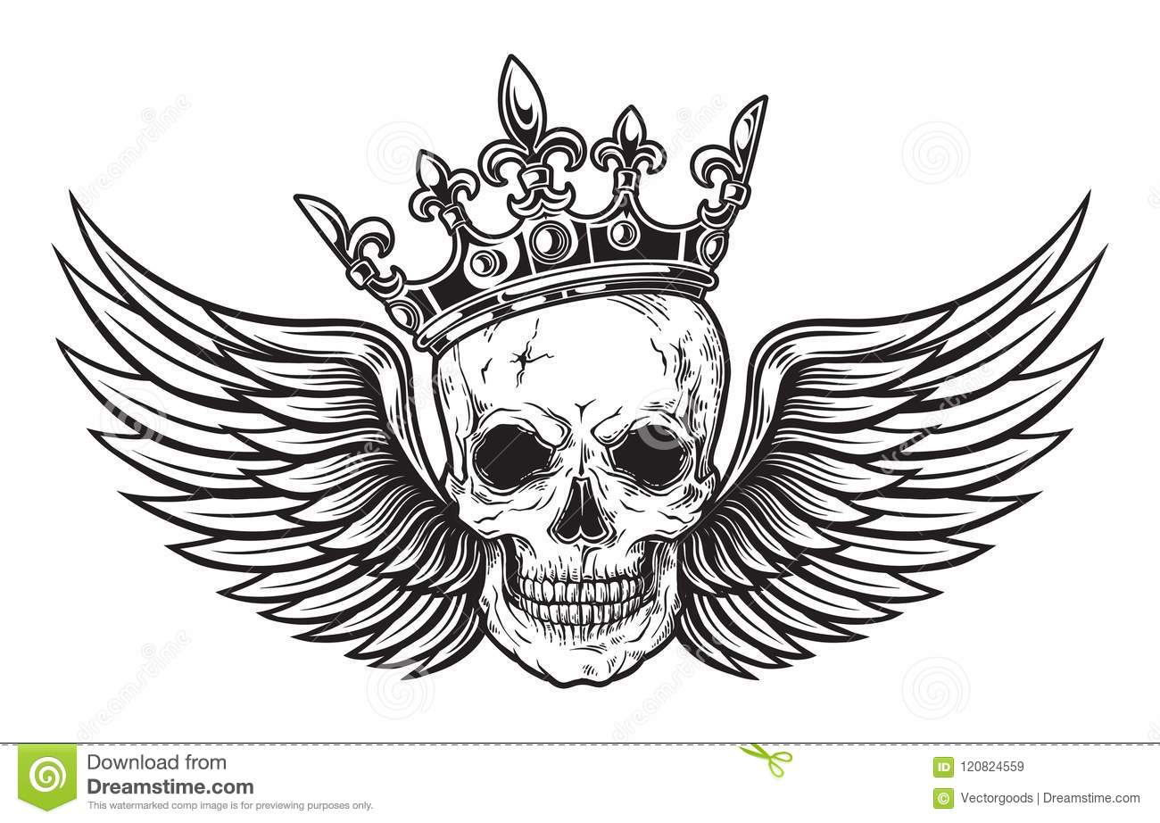 Human Skull With Wings And Crown For Tattoo Design Stock Vector