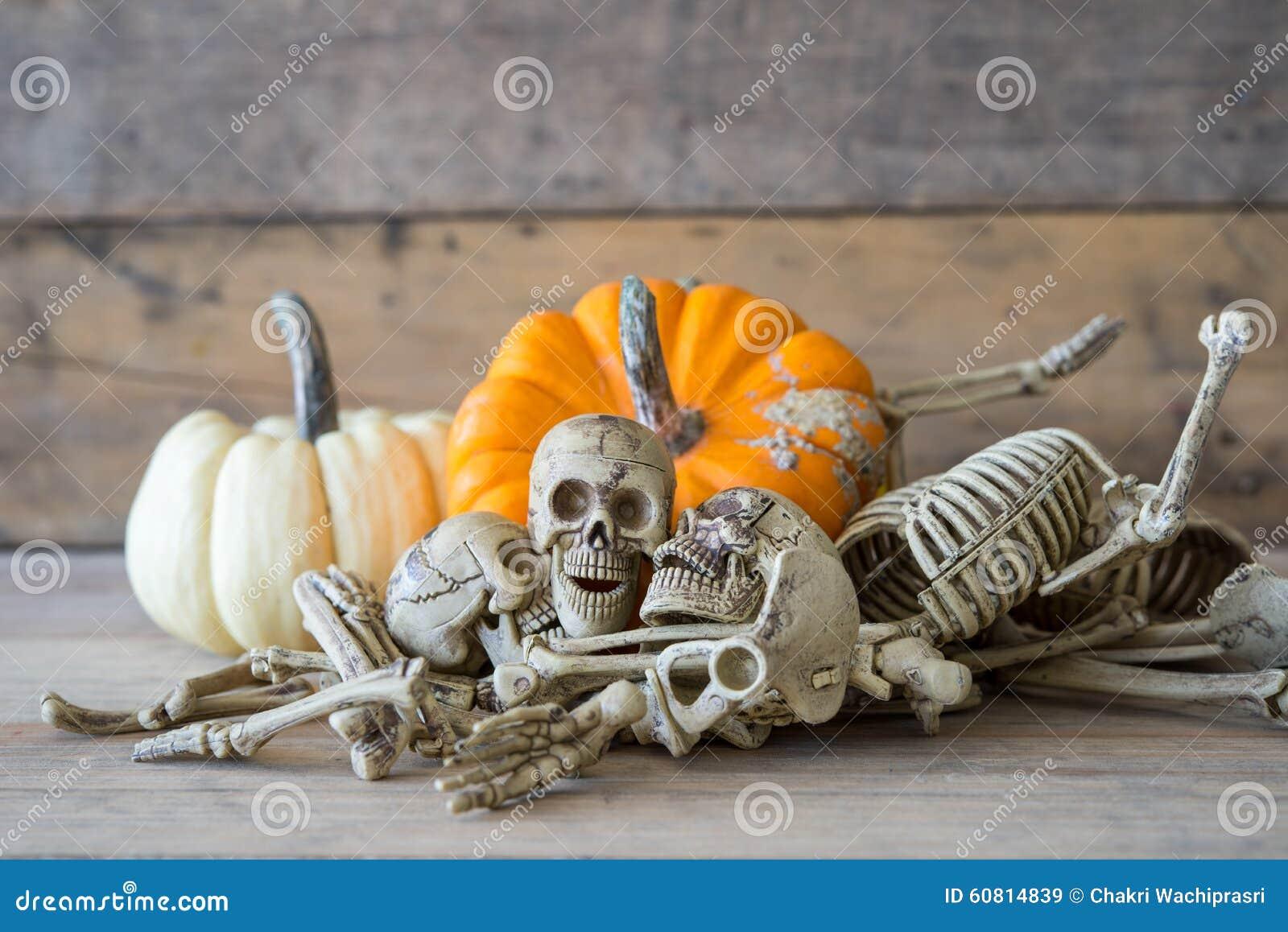 Human skull on wood background ,Skeleton and pumpkin on wood ,Happy Halloween background
