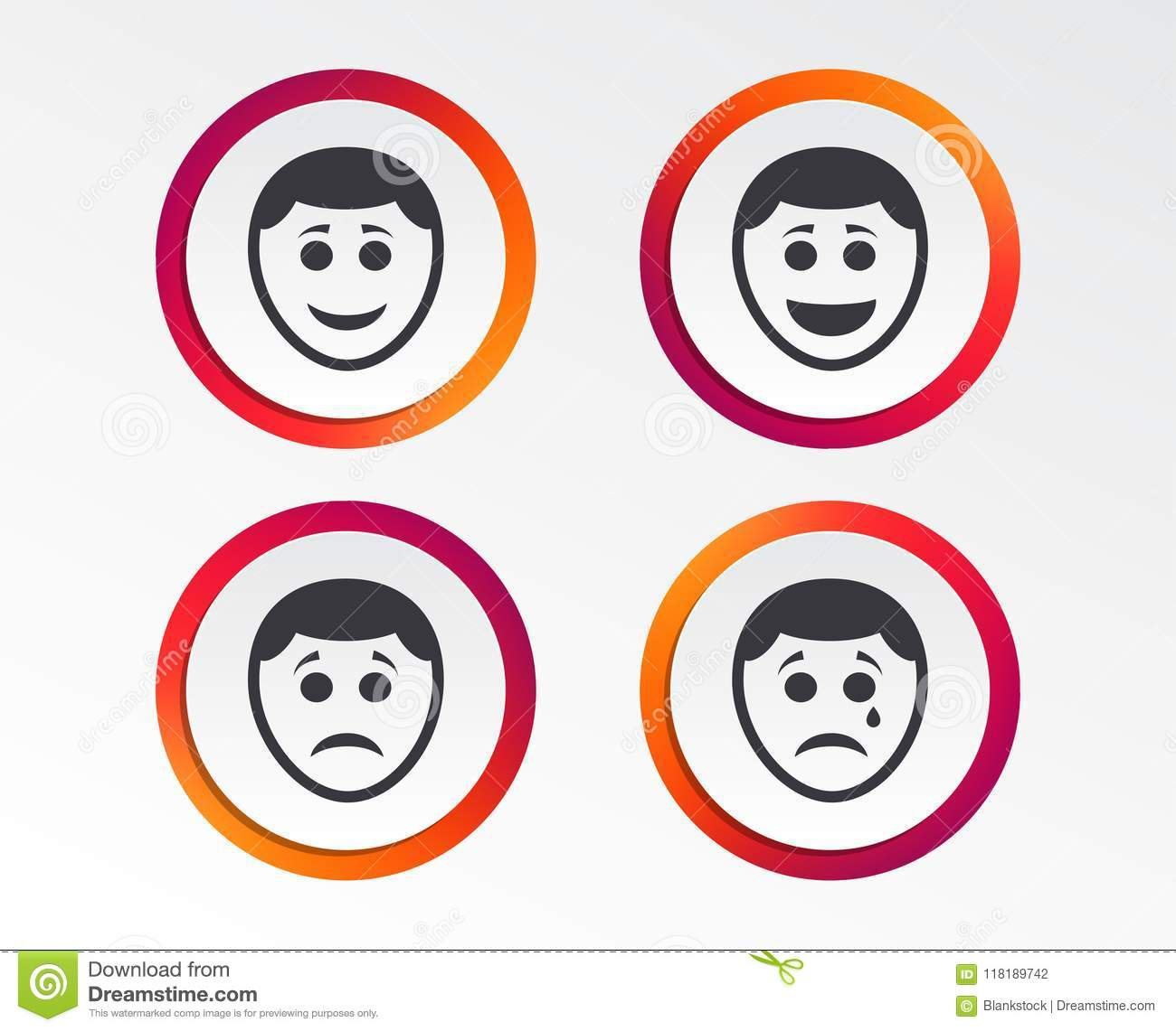 Human Smile Face Icons Happy Sad Cry Stock Vector Illustration
