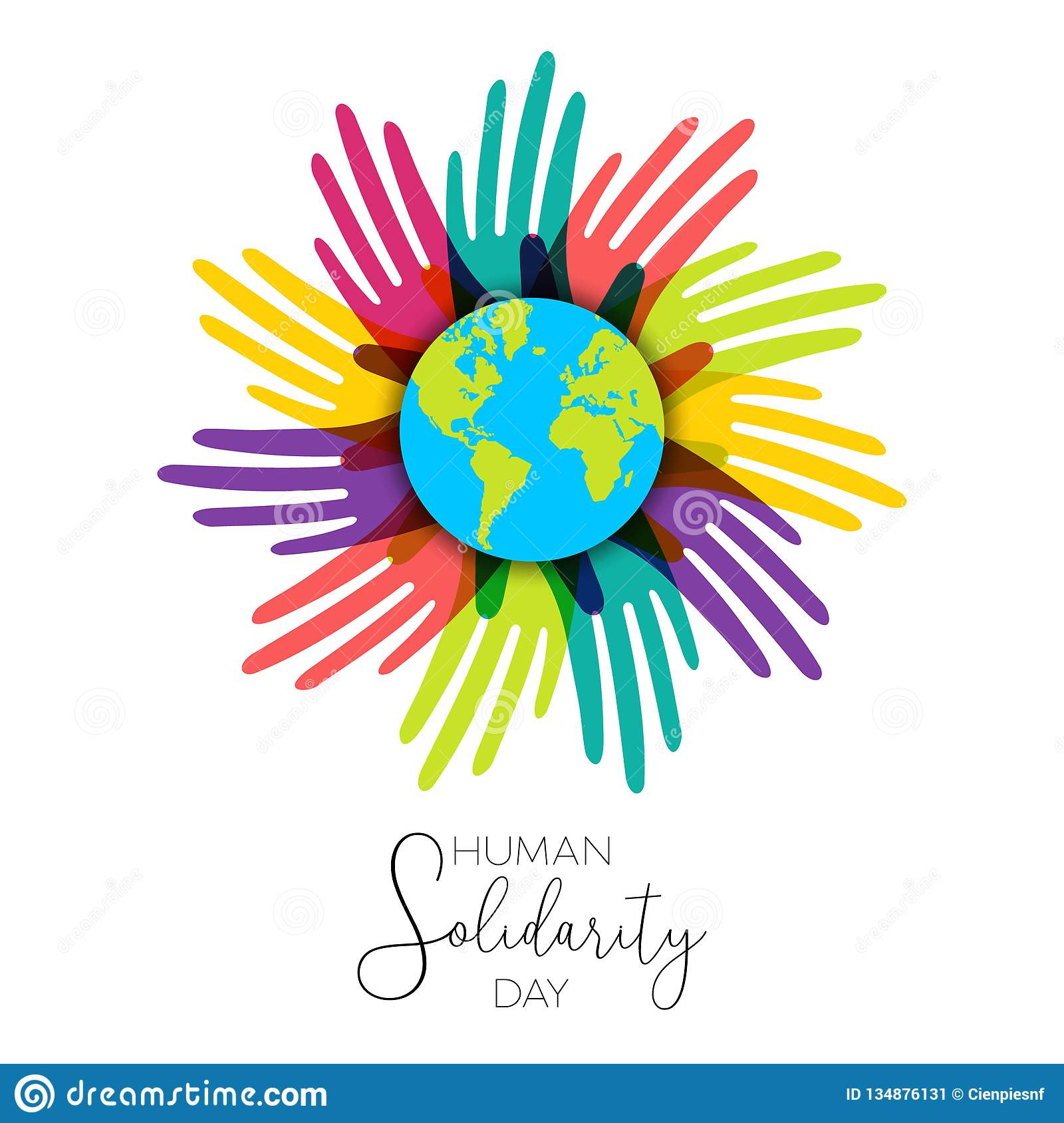 814cb39679f2 International Human Solidarity Day illustration with colorful hands around  the world from different cultures helping each other for community help