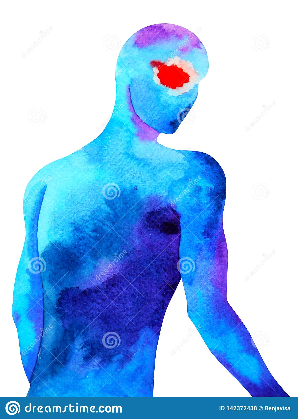 Human Standing Look Back Pose Abstract Body Watercolor