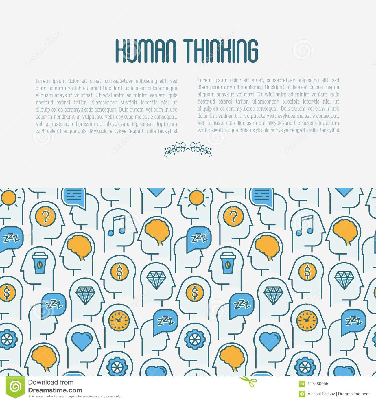 Human thinking concept with thin line icons