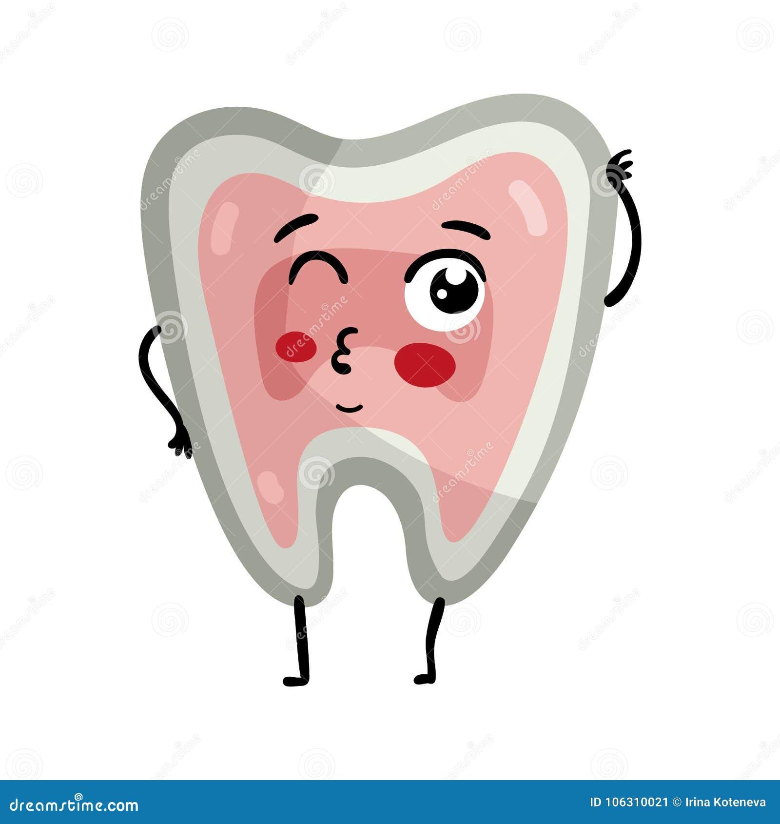 Human Tooth Cute Cartoon Character Stock Vector - Illustration of ...