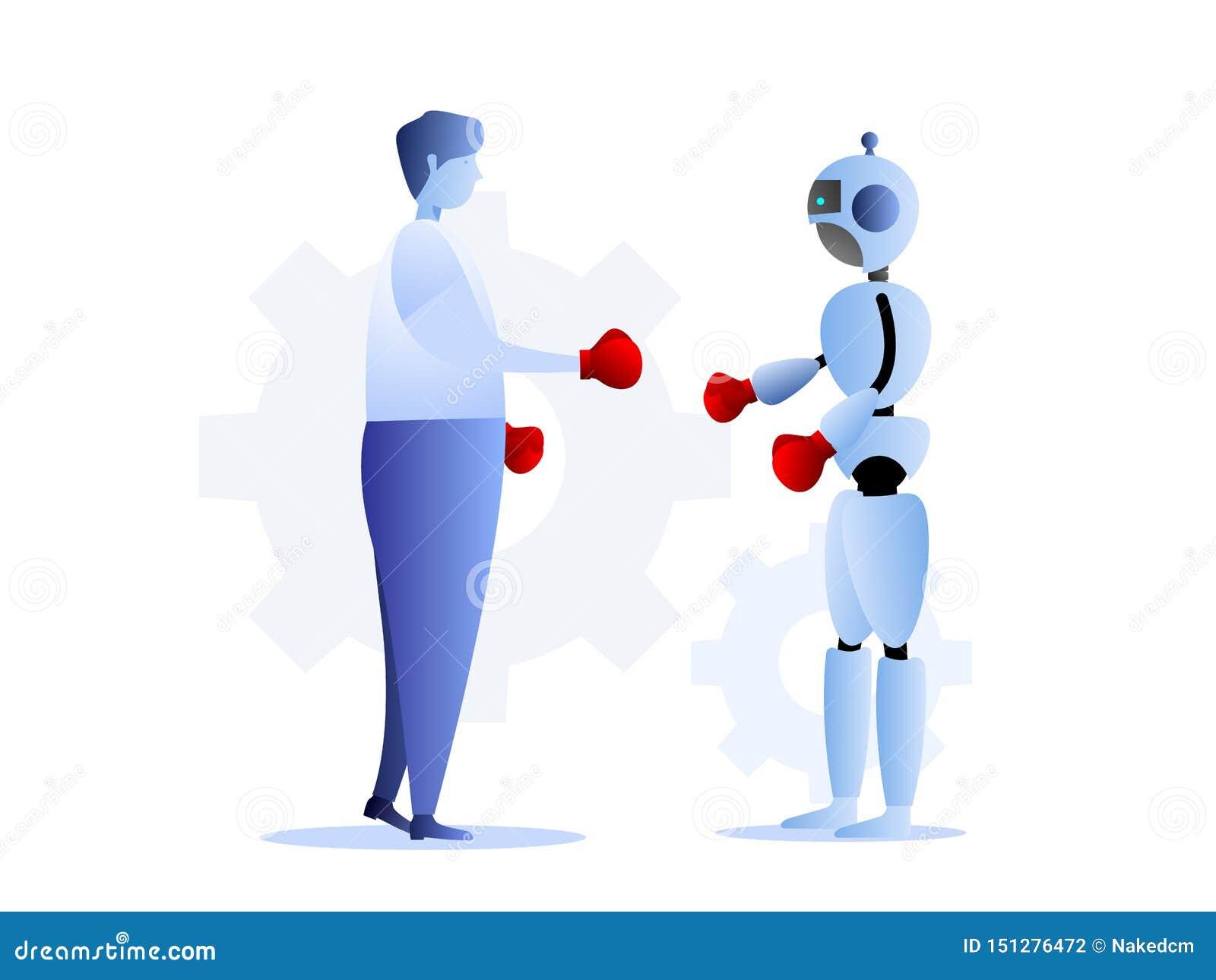 Human vs robots business challenge concept