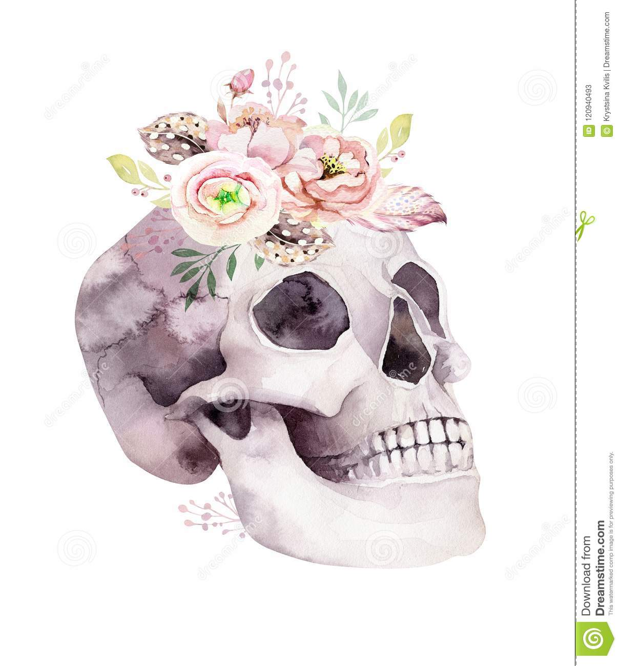 Human Watercolor Skull With Floral Bouquets Head Vintage Helloween