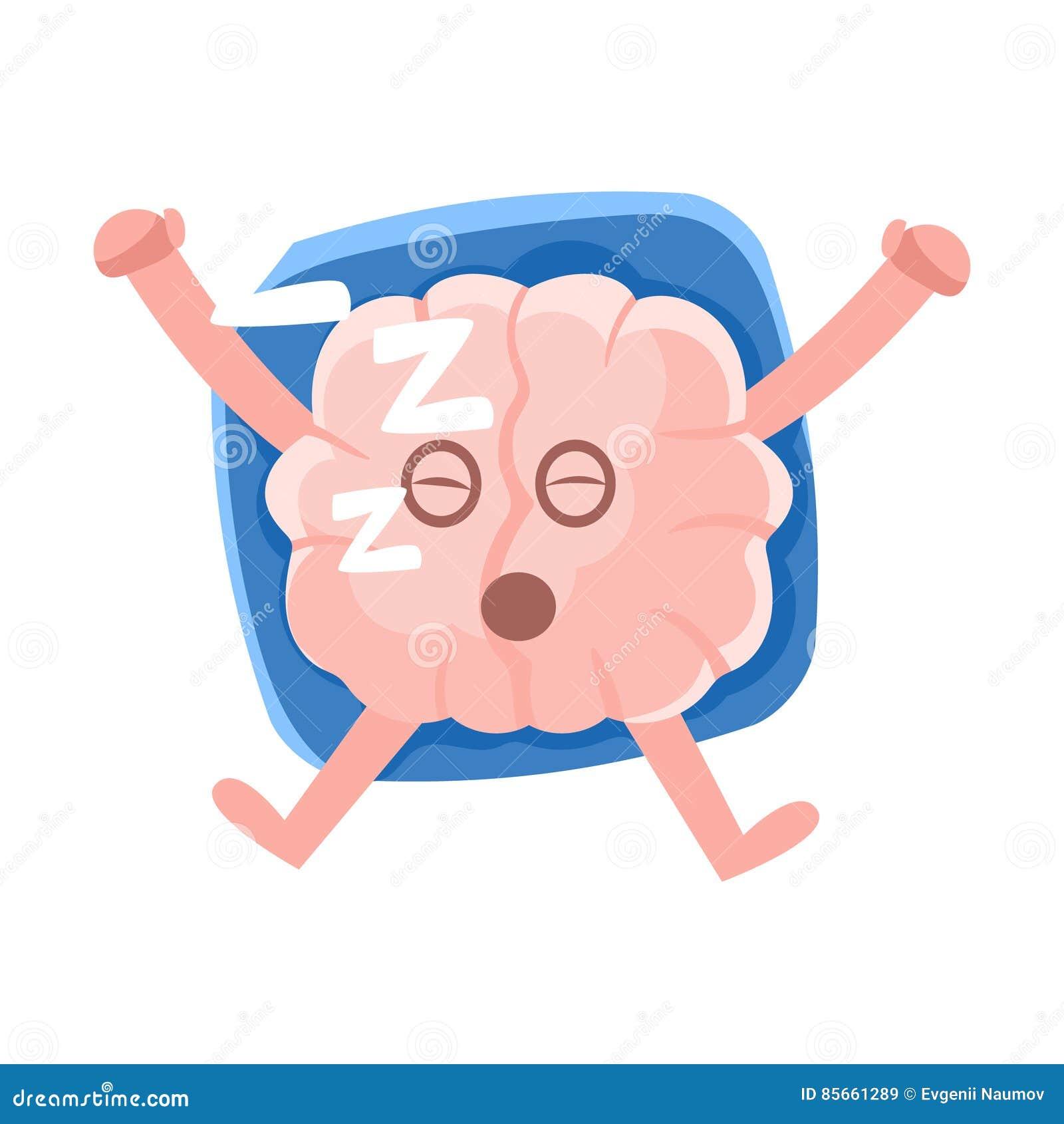 Humaniserade Brain Sleeping On The Back på kudden, Emoji för tecken för tecknad film för mänskligt organ för intellekt symbol