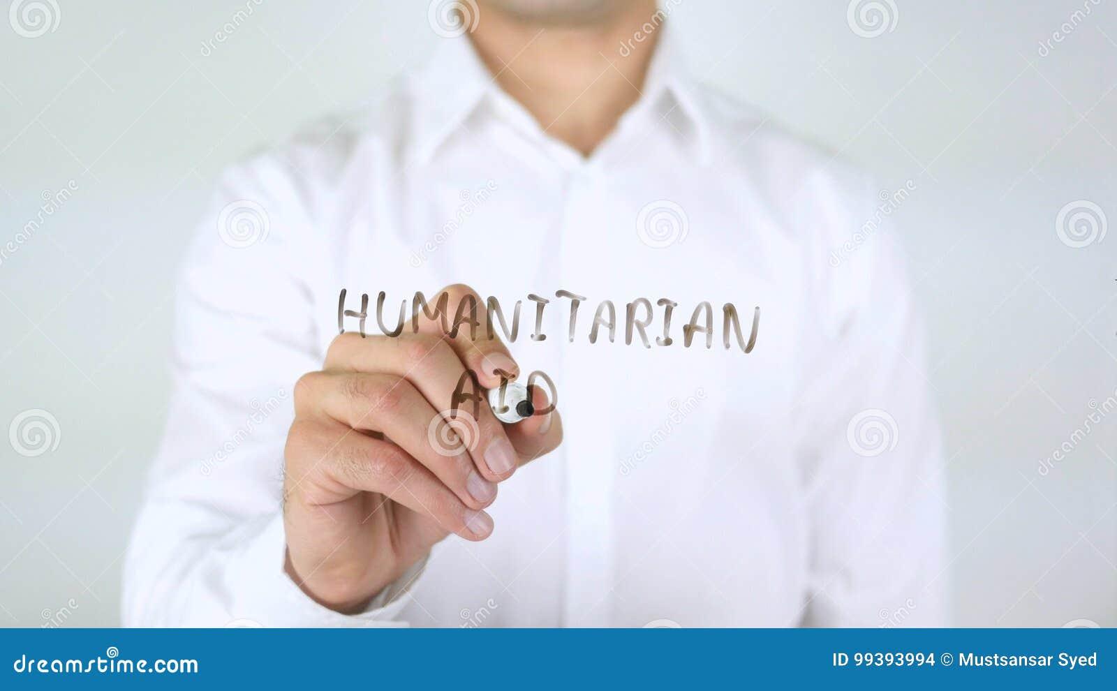 Humanitaire Hulp, Zakenman Writing op Glas