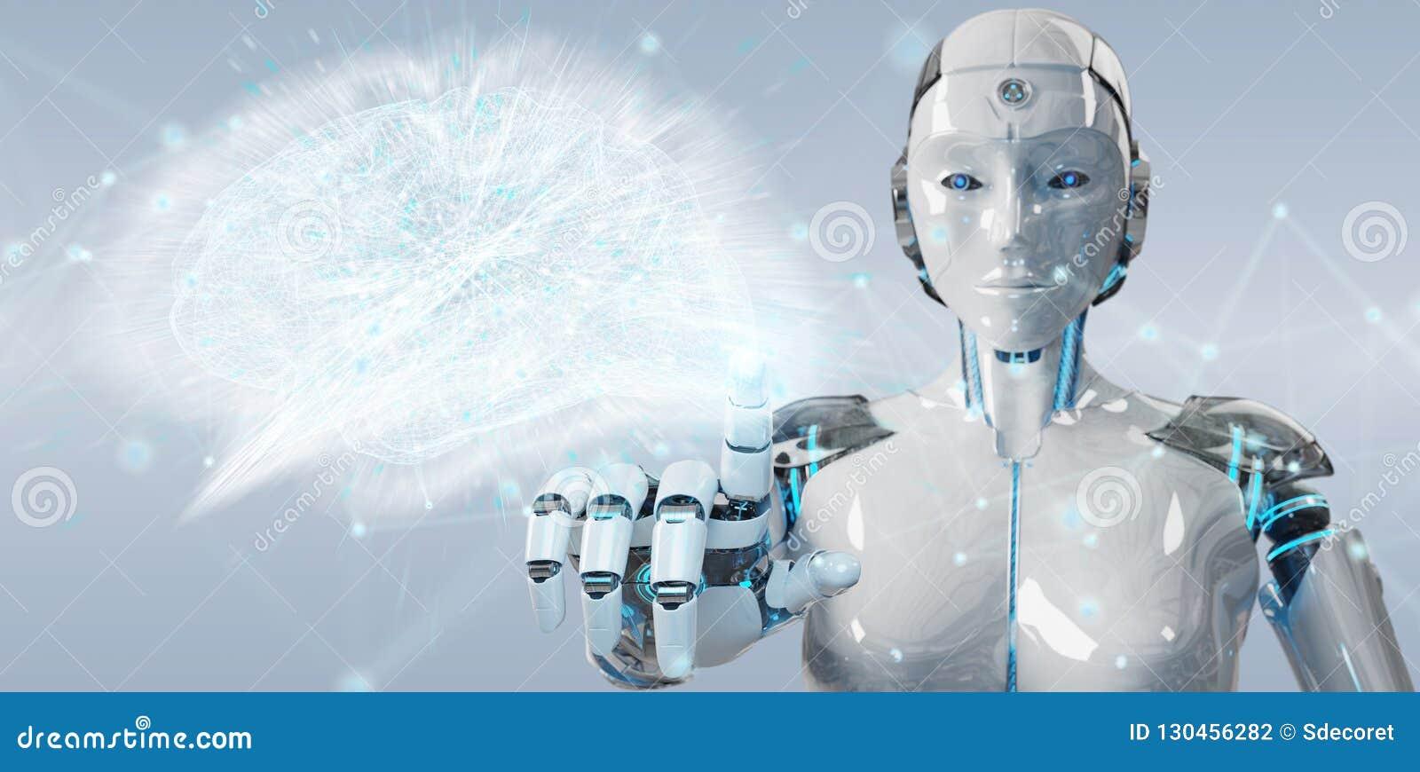 Humanoïde de femme blanche créant le renderi de l intelligence artificielle 3D