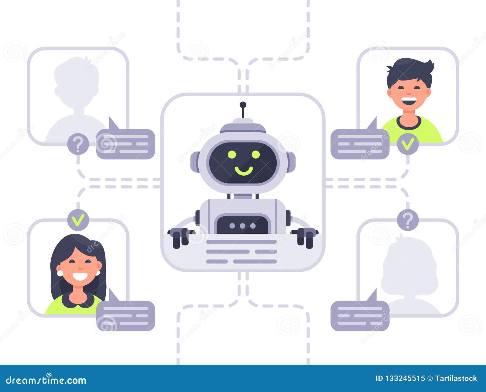Humano comunica-se com o chatbot Assistente virtual, apoio e conversação em linha do auxílio com vetor do bot do bate-papo