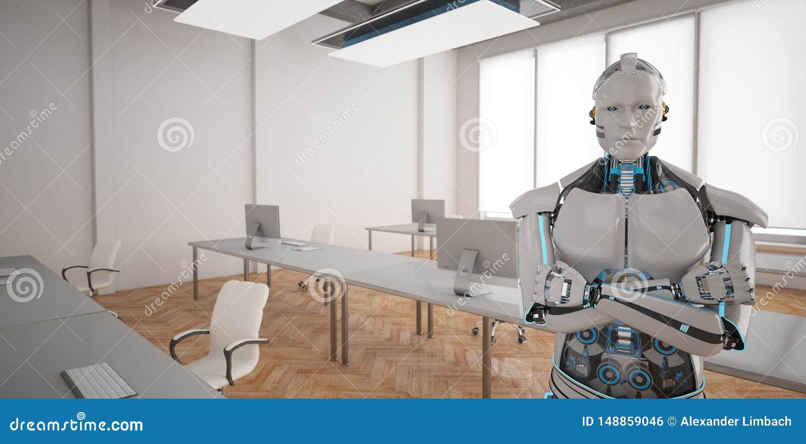 Humanoid Büro des Roboter-offenen Raumes