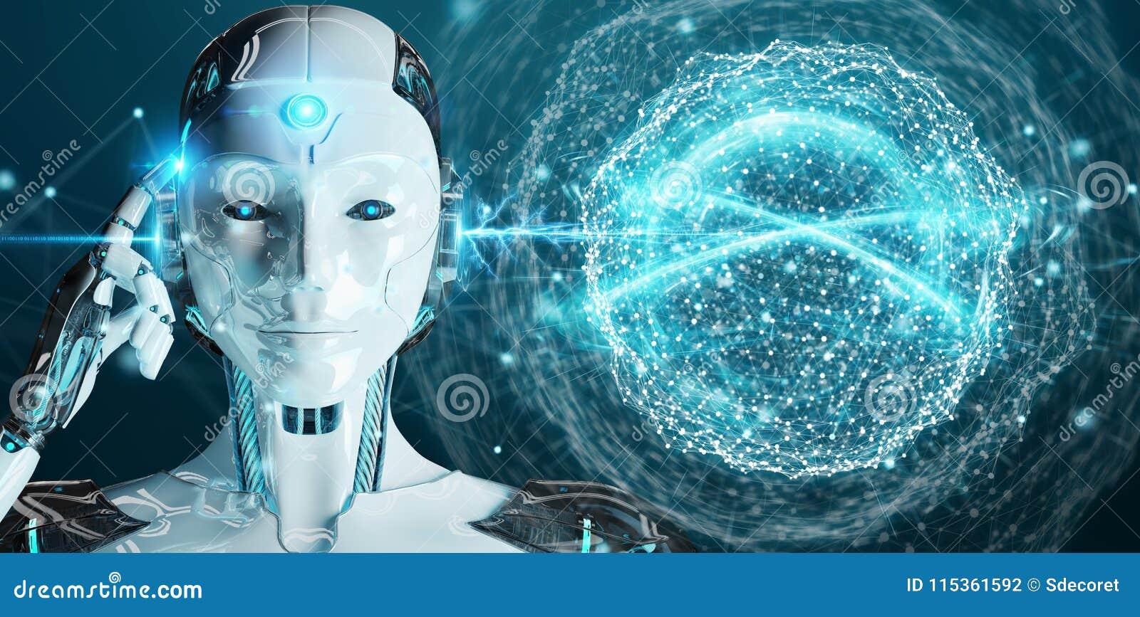 Humanoid da mulher branca usando a rendição digital da rede global 3D