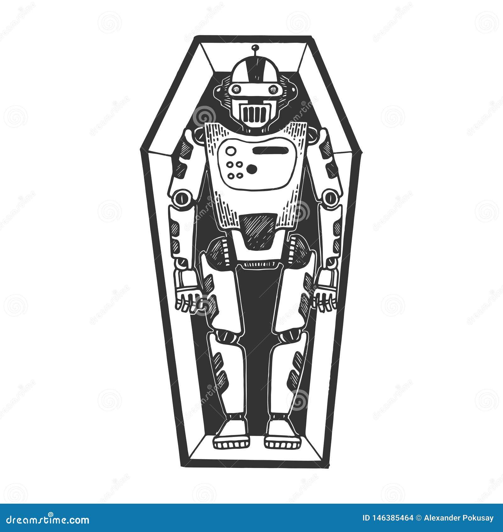 Humanoid dode robot in de gravure van de doodskistschets