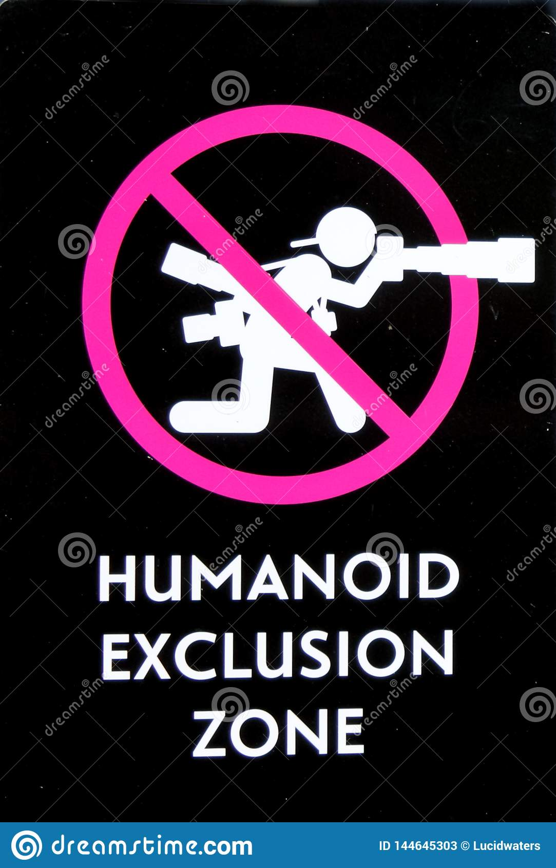 Humanoid Exclusion Zone Sign No Photography