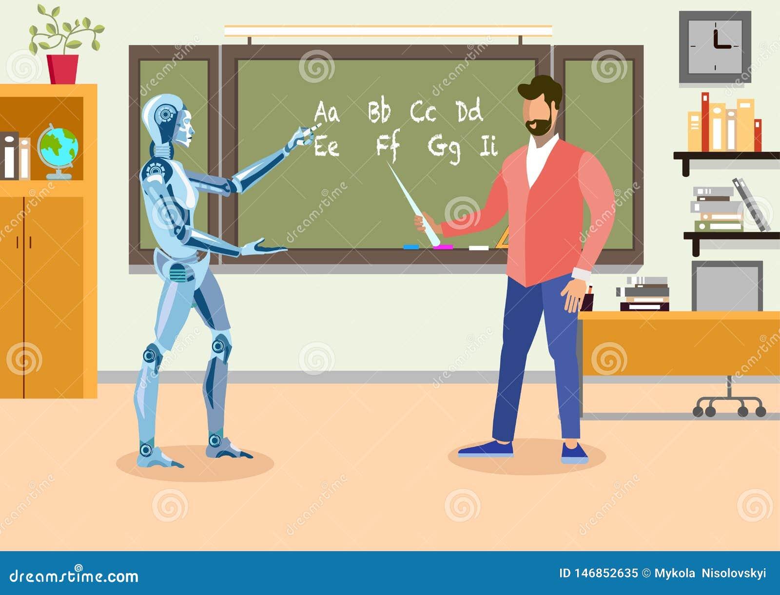 Humanoid lärare i plan illustration för klassrum