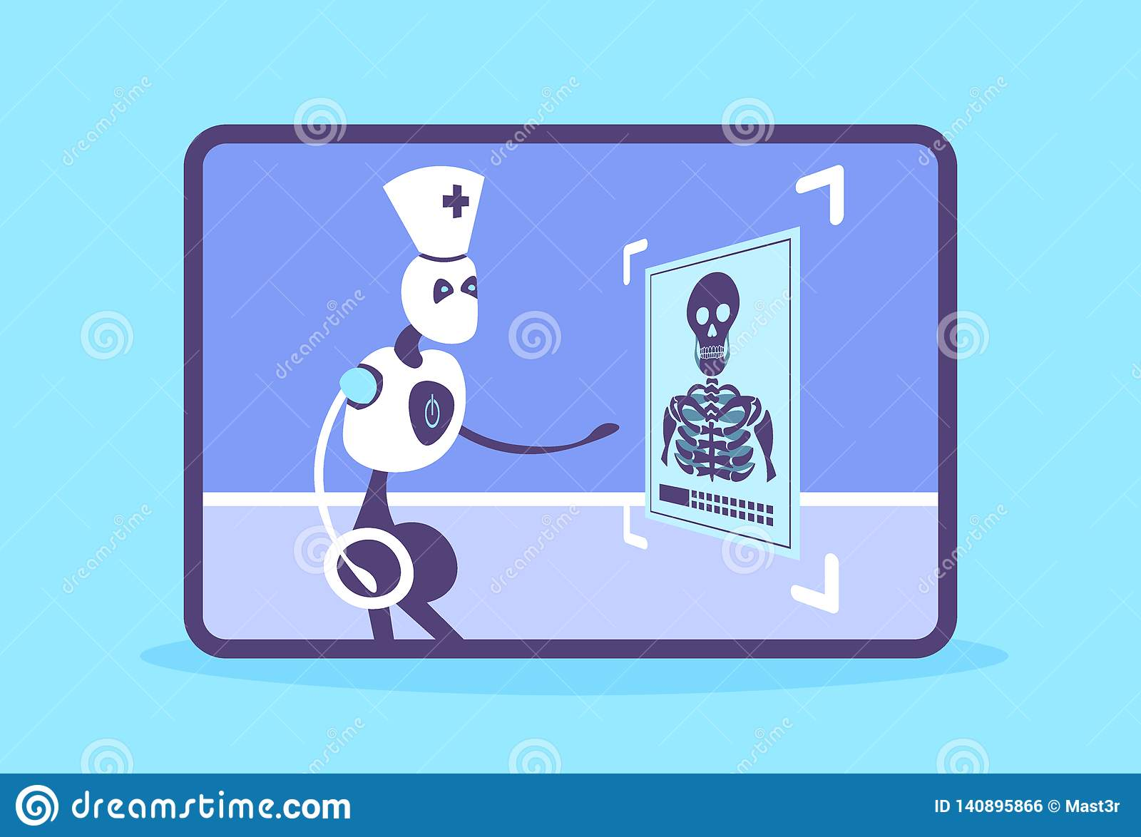 Humanoid robot doctor examining x-ray photograph cyborg recognizing patient radiography artificial intelligence medicine