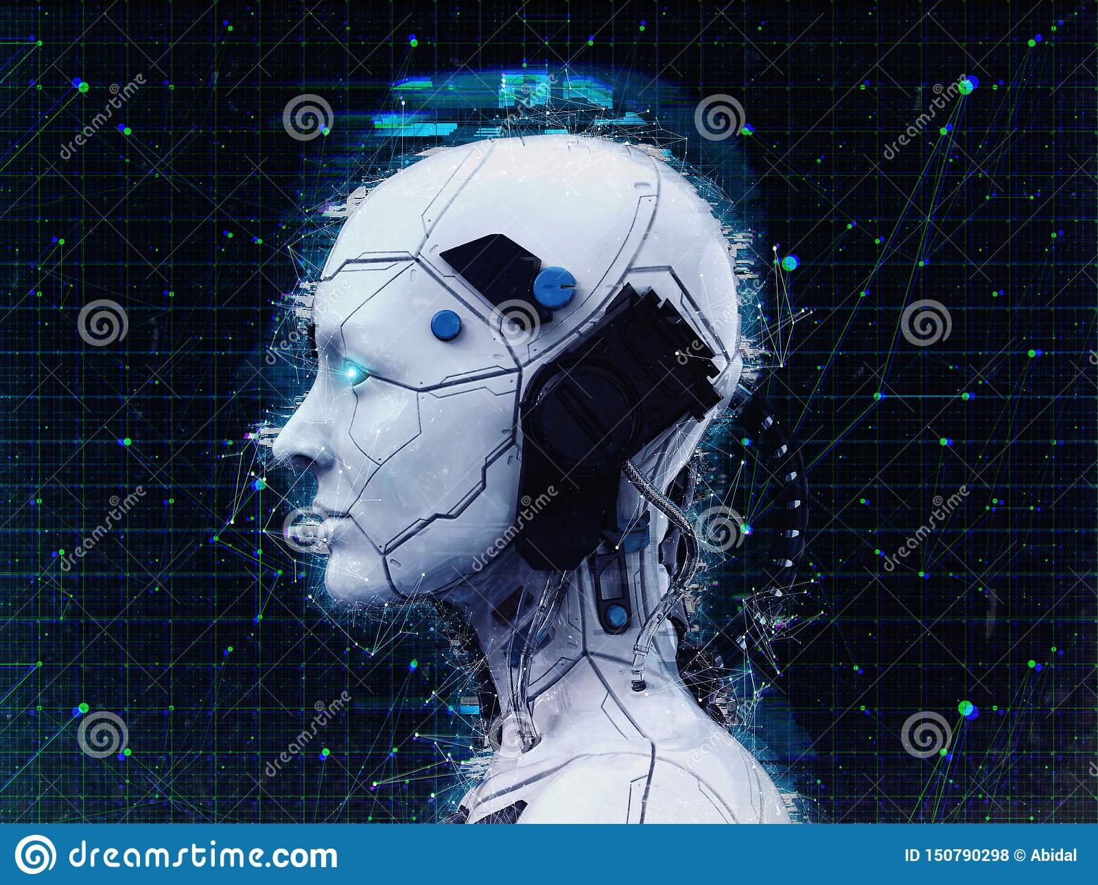 Humanoid Robot Girl Artificial Intelligence Background 3d