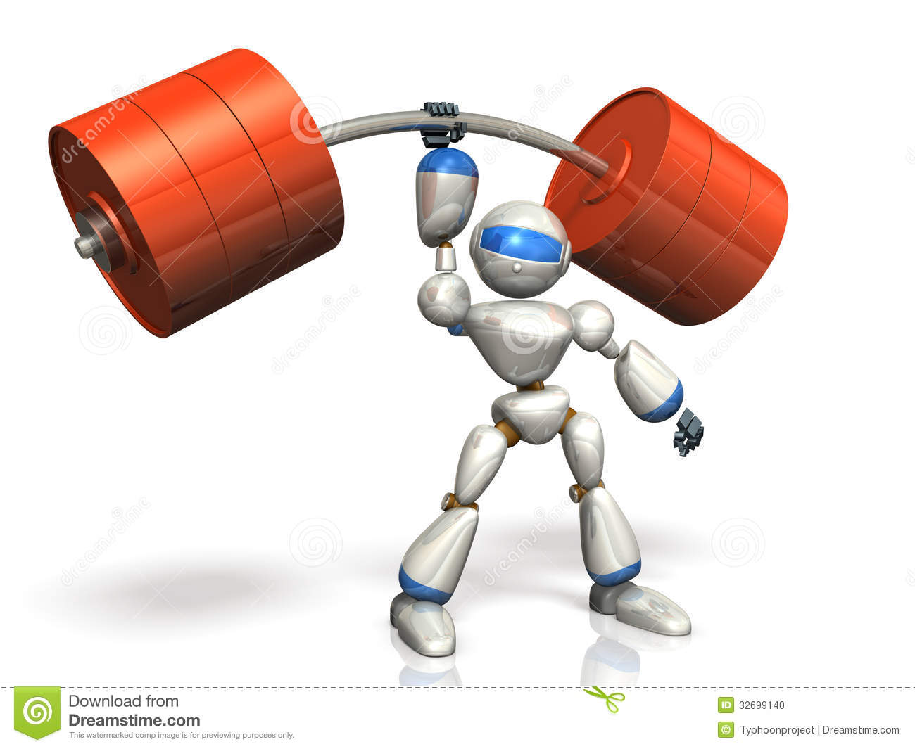 Humanoid Robot Is Possesses Superhuman Strength. Stock Photo - Image ...