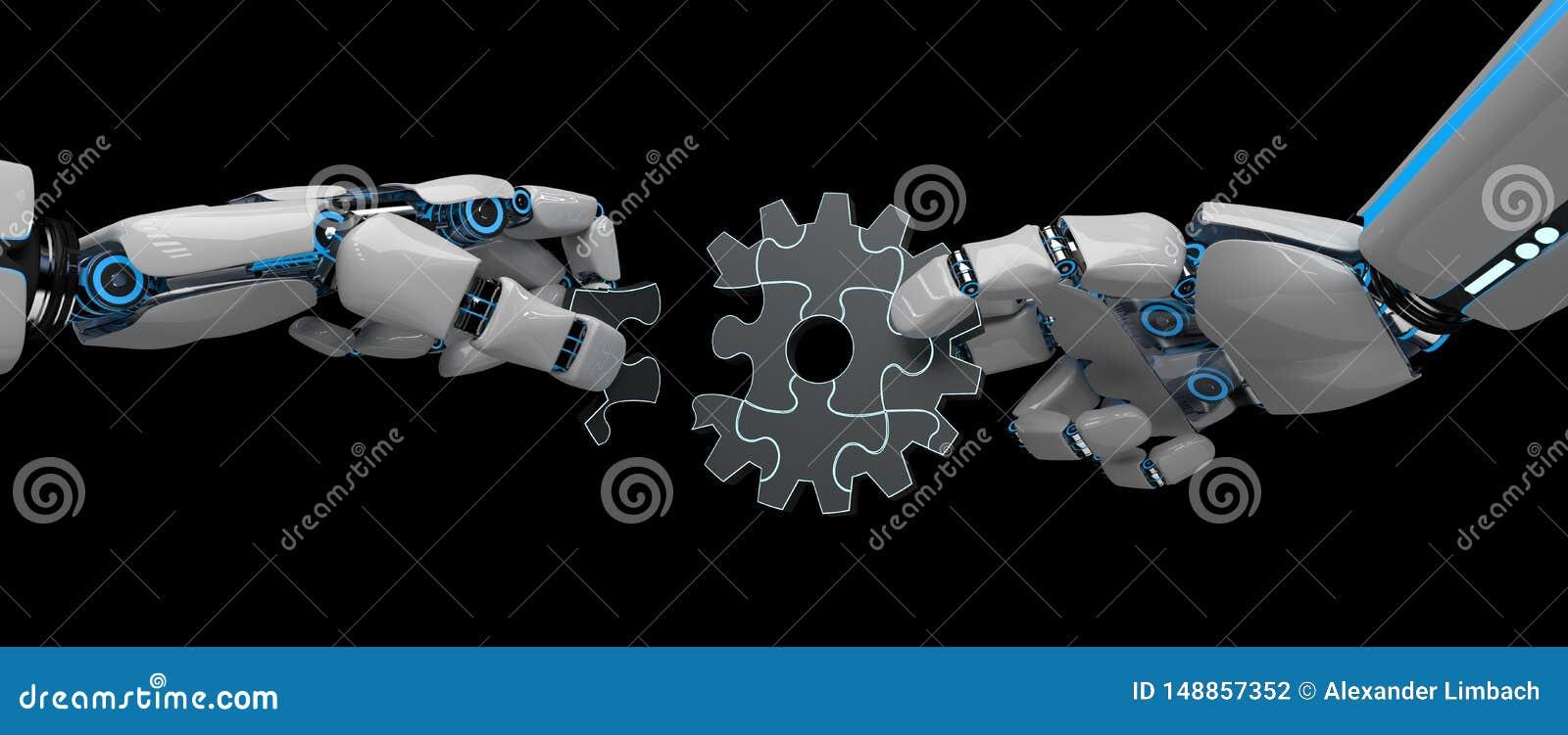 Humanoid Roboter-Gang-Rad-Puzzlespiel