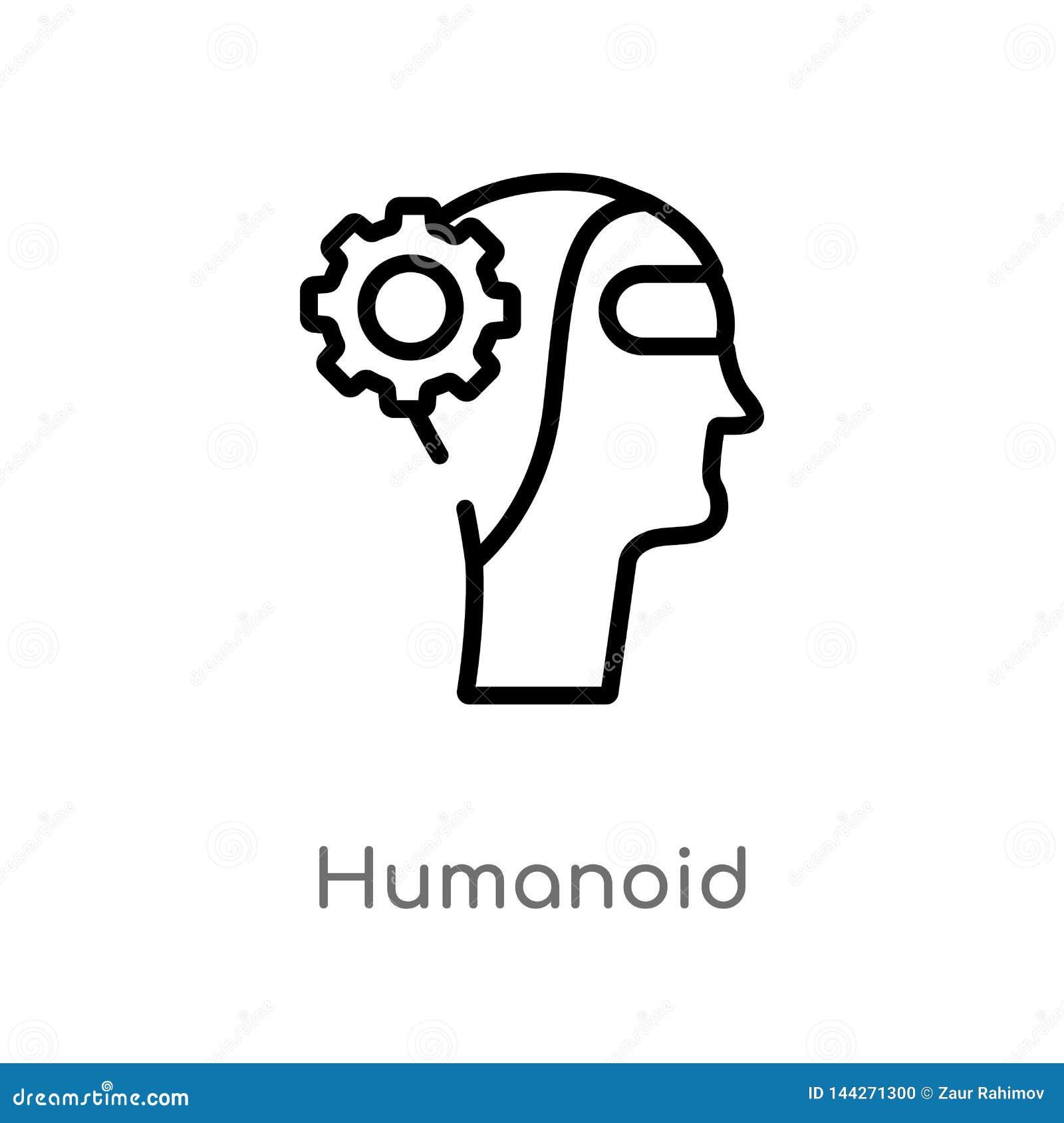 Humanoid Vektorikone des Entwurfs lokalisiertes schwarzes einfaches Linienelementillustration von künstlichem intellegence Konzep