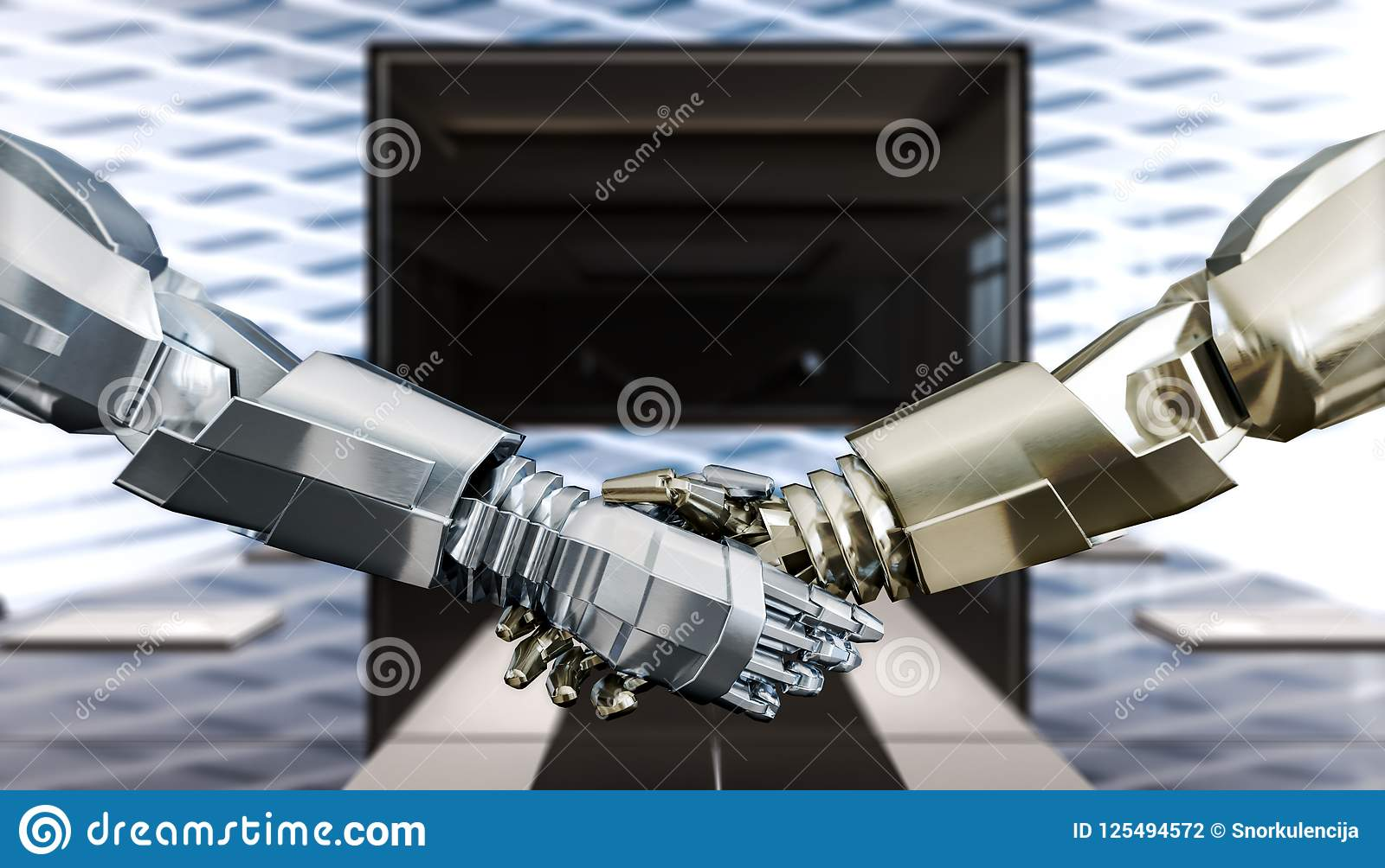 Humanoids bedrijfshanddruk, vertrouwen en vennootschap, concept